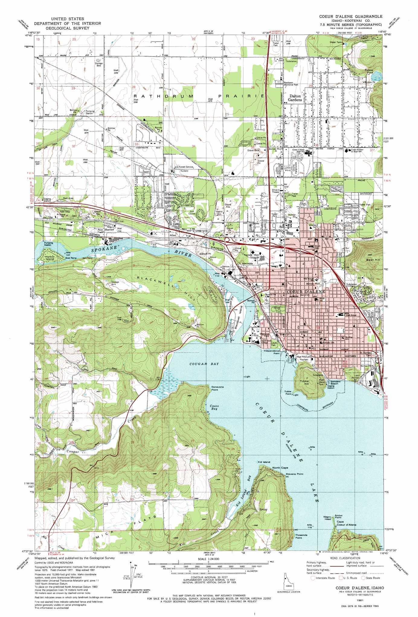 Coeur D\'Alene topographic map, ID - USGS Topo Quad 47116f7