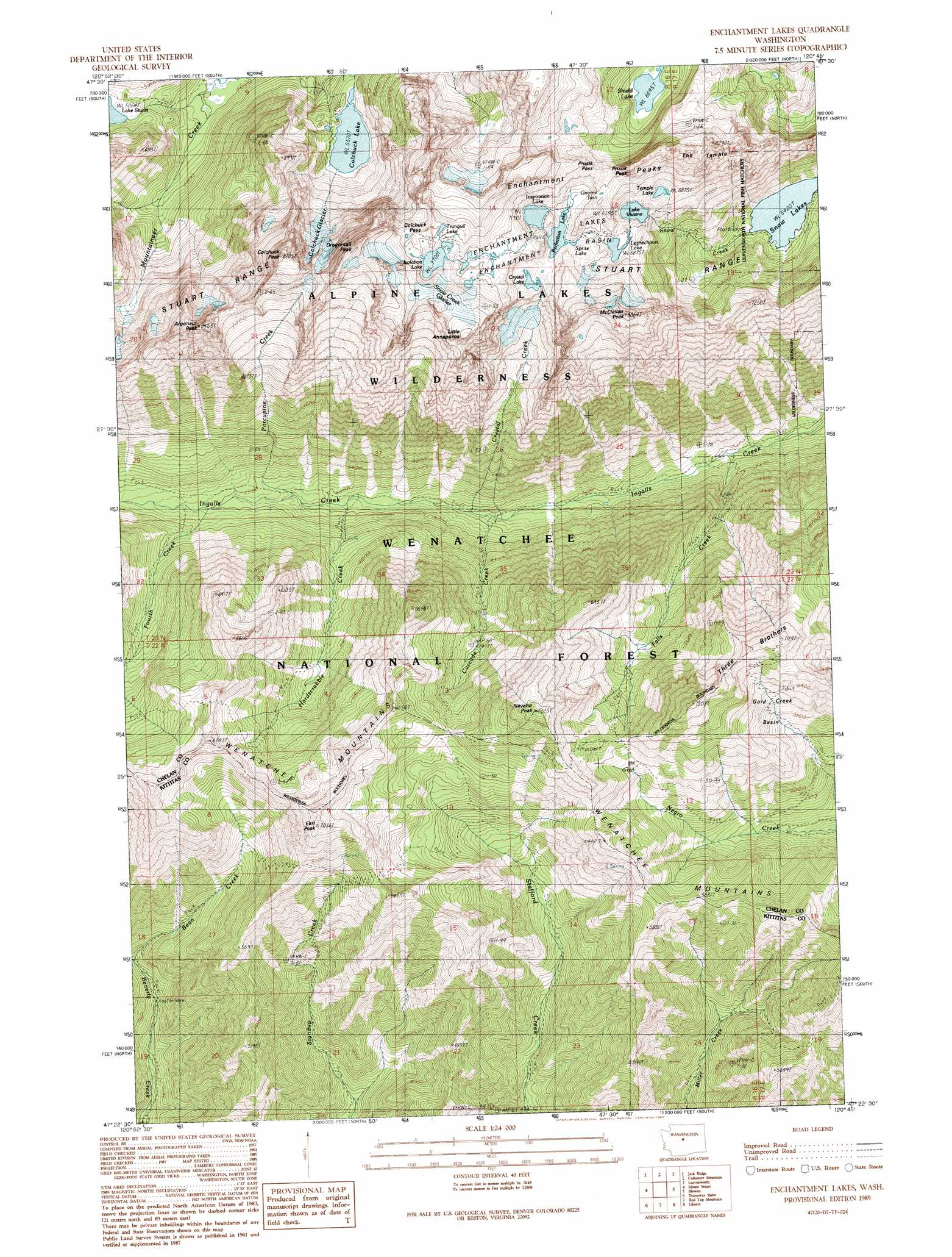 Enchantment Lakes topographic map, WA - USGS Topo Quad 47120d7