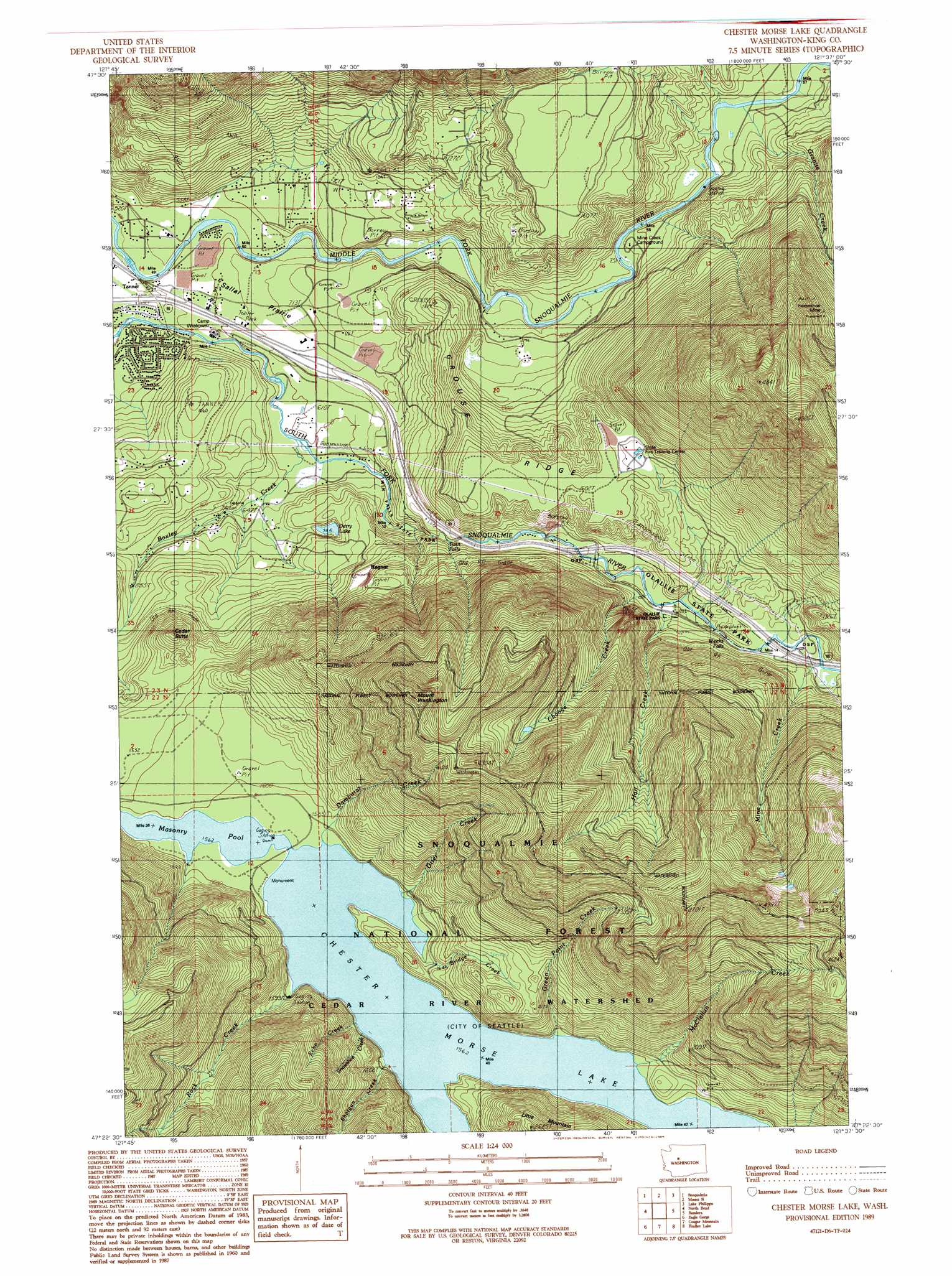 Chester Morse Lake Topographic Map Wa Usgs Topo Quad
