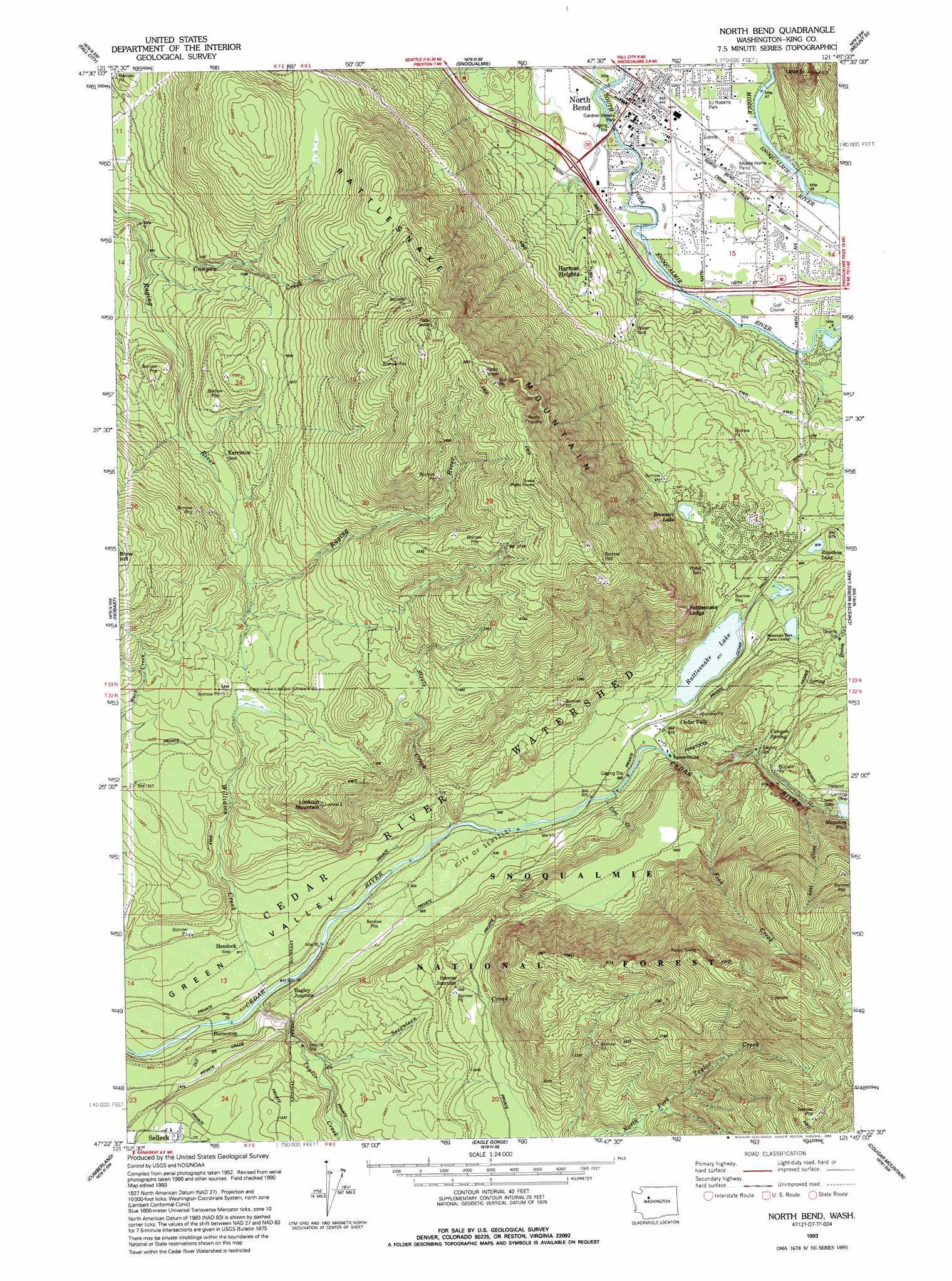 North Bend Topographic Map WA  USGS Topo Quad 47121d7