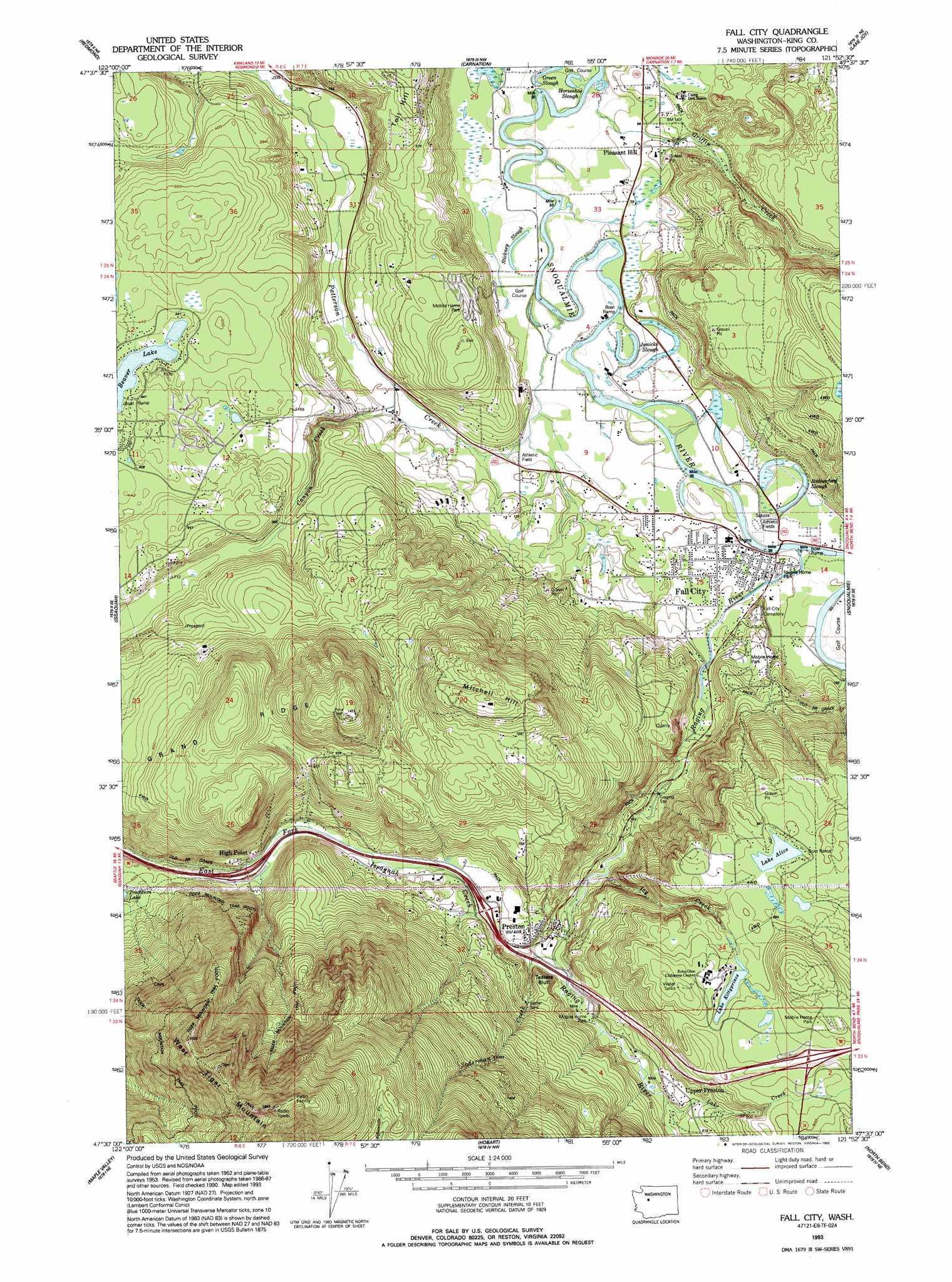 Fall City Topographic Map WA  USGS Topo Quad 47121e8