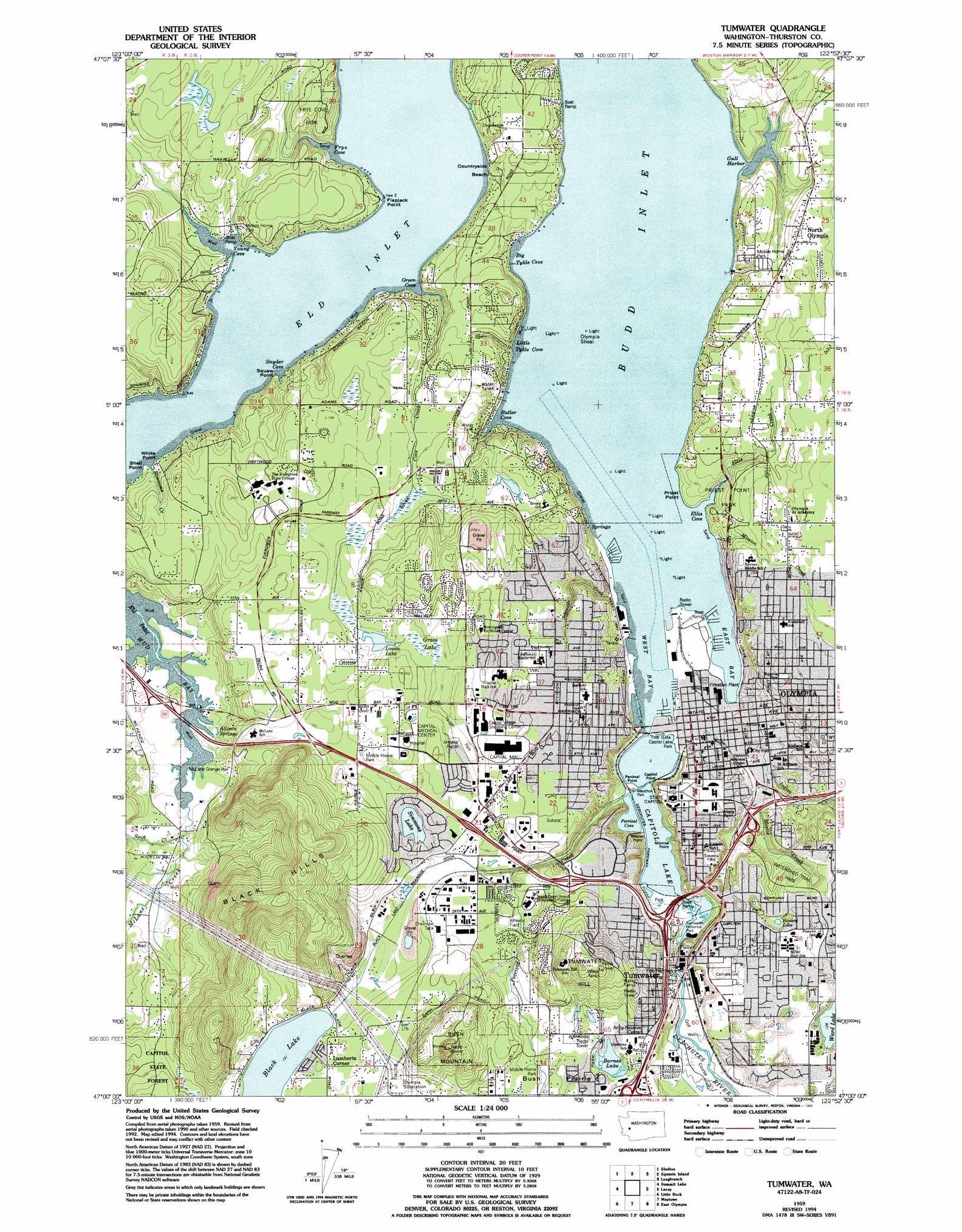 Olympia topographic map WA USGS Topo Quad 47122a8
