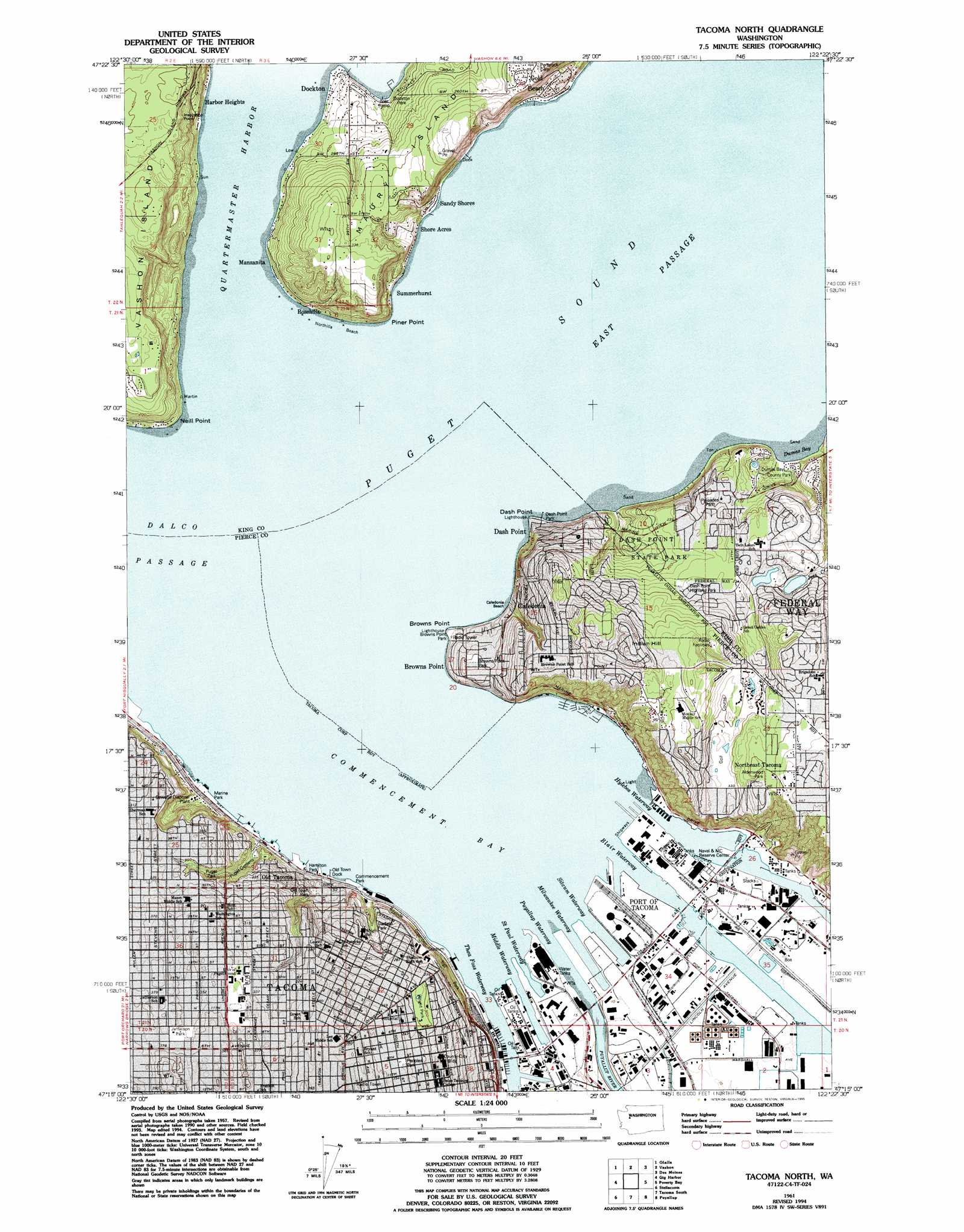 Tacoma North topographic map WA USGS Topo Quad 47122c4