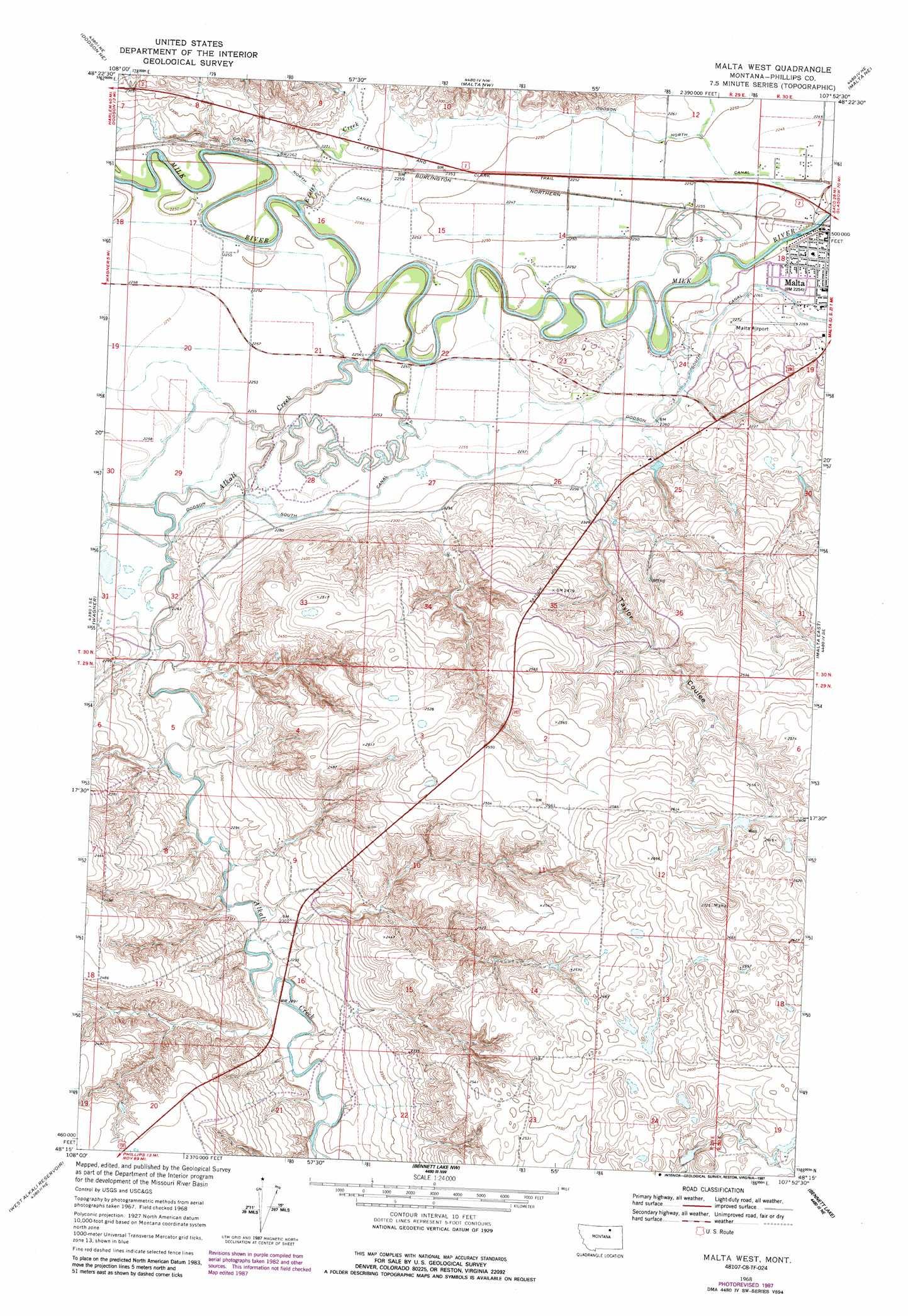 Malta West topographic map MT USGS Topo Quad 48107c8