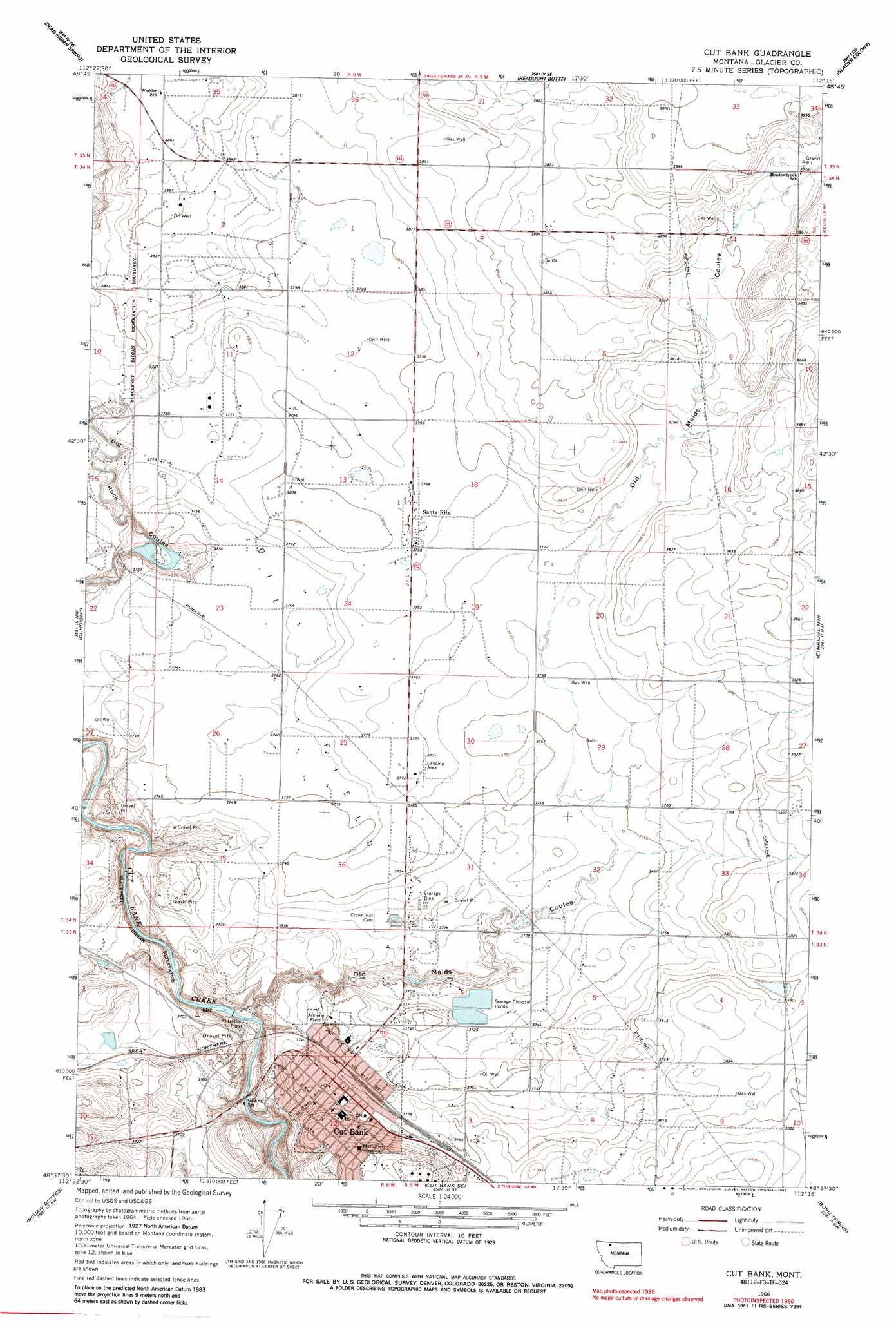 Cut Bank Topographic Map MT  USGS Topo Quad 48112f3