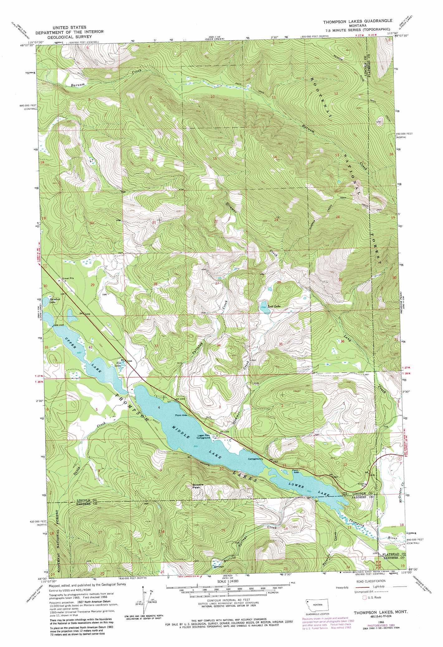 Thompson Lakes topographic map, MT - USGS Topo Quad 48115a1