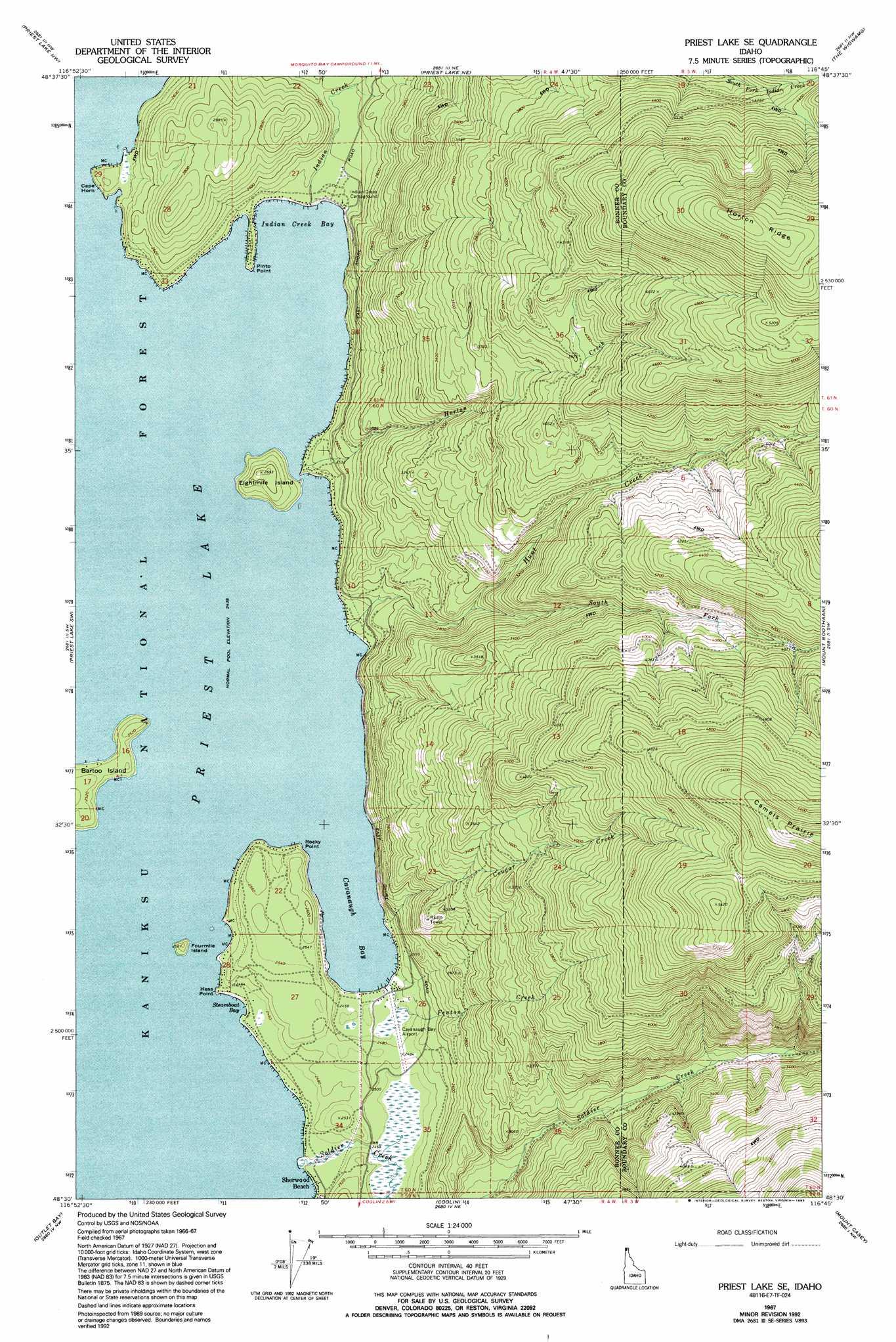 Priest Lake Se Topographic Map Id Usgs Topo Quad 48116e7