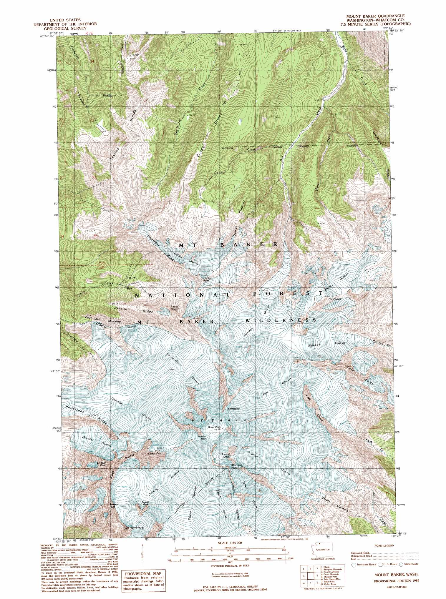 Mount Baker Topographic Map WA  USGS Topo Quad 48121g7