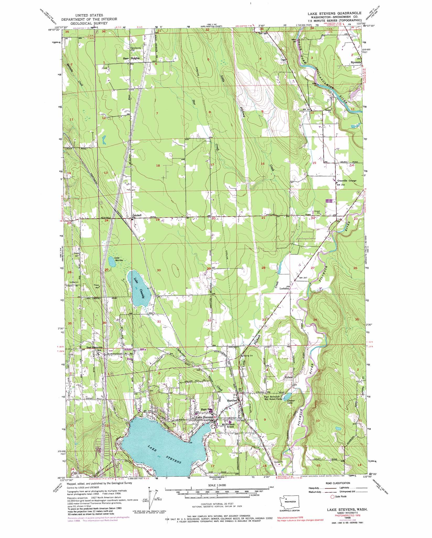 Lake Stevens Topographic Map WA  USGS Topo Quad 48122a1