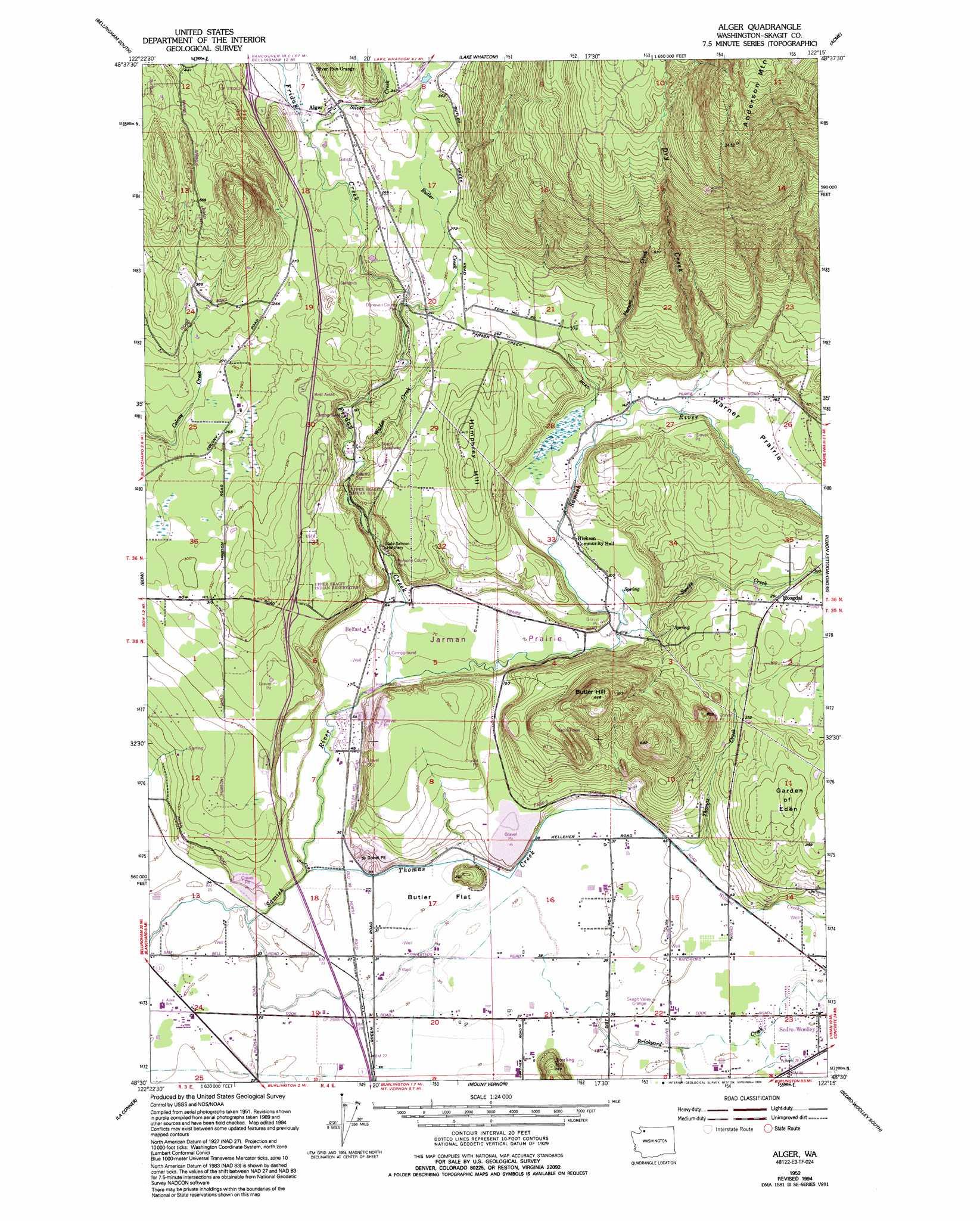 Alger Topographic Map WA  USGS Topo Quad 48122e3