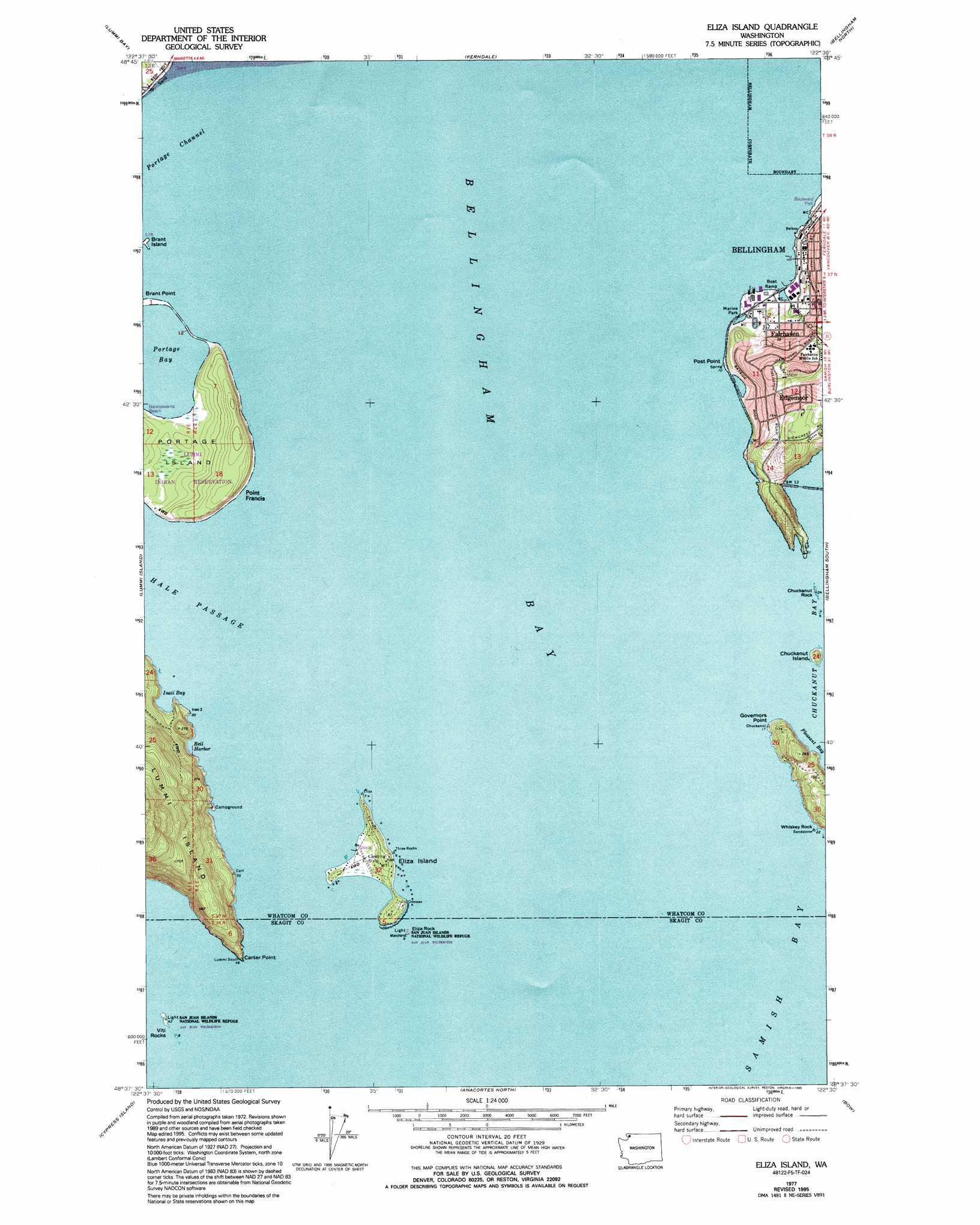 Eliza Island Topographic Map Wa Usgs Topo Quad 48122f5