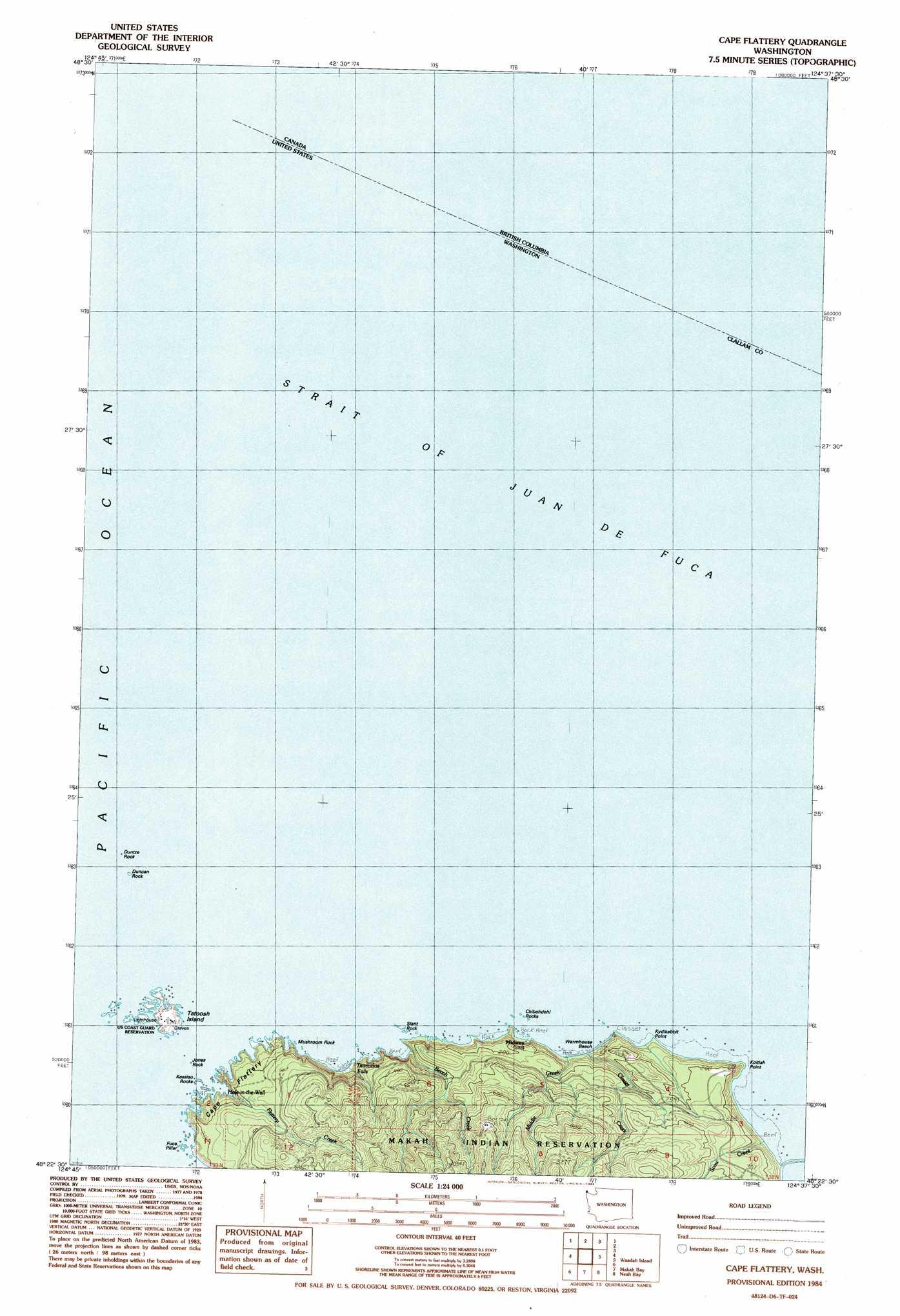 Cape Flattery Topographic Map WA  USGS Topo Quad 48124d6