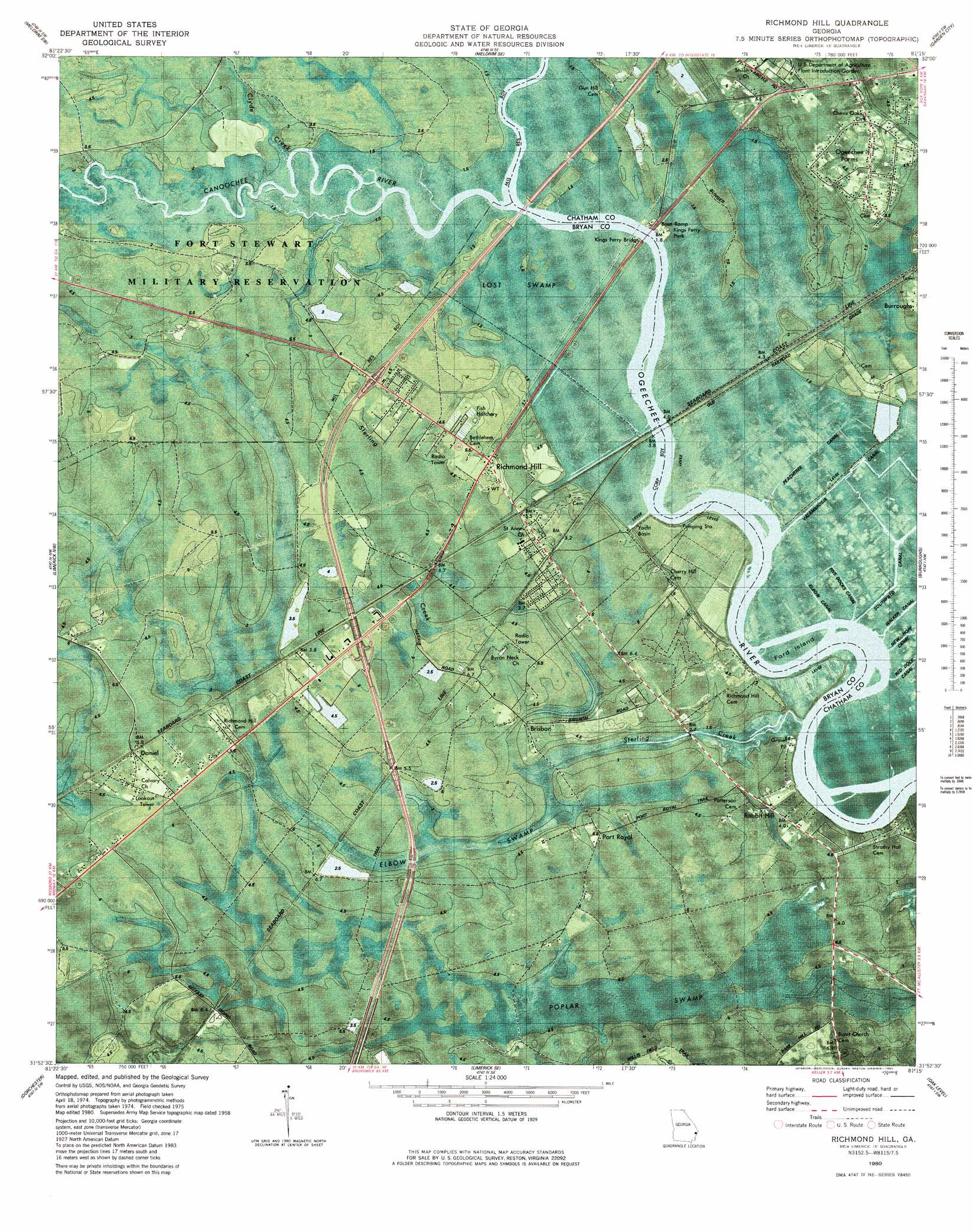 Hill Topographic Map.Richmond Hill Topographic Map Ga Usgs Topo Quad 31081h3