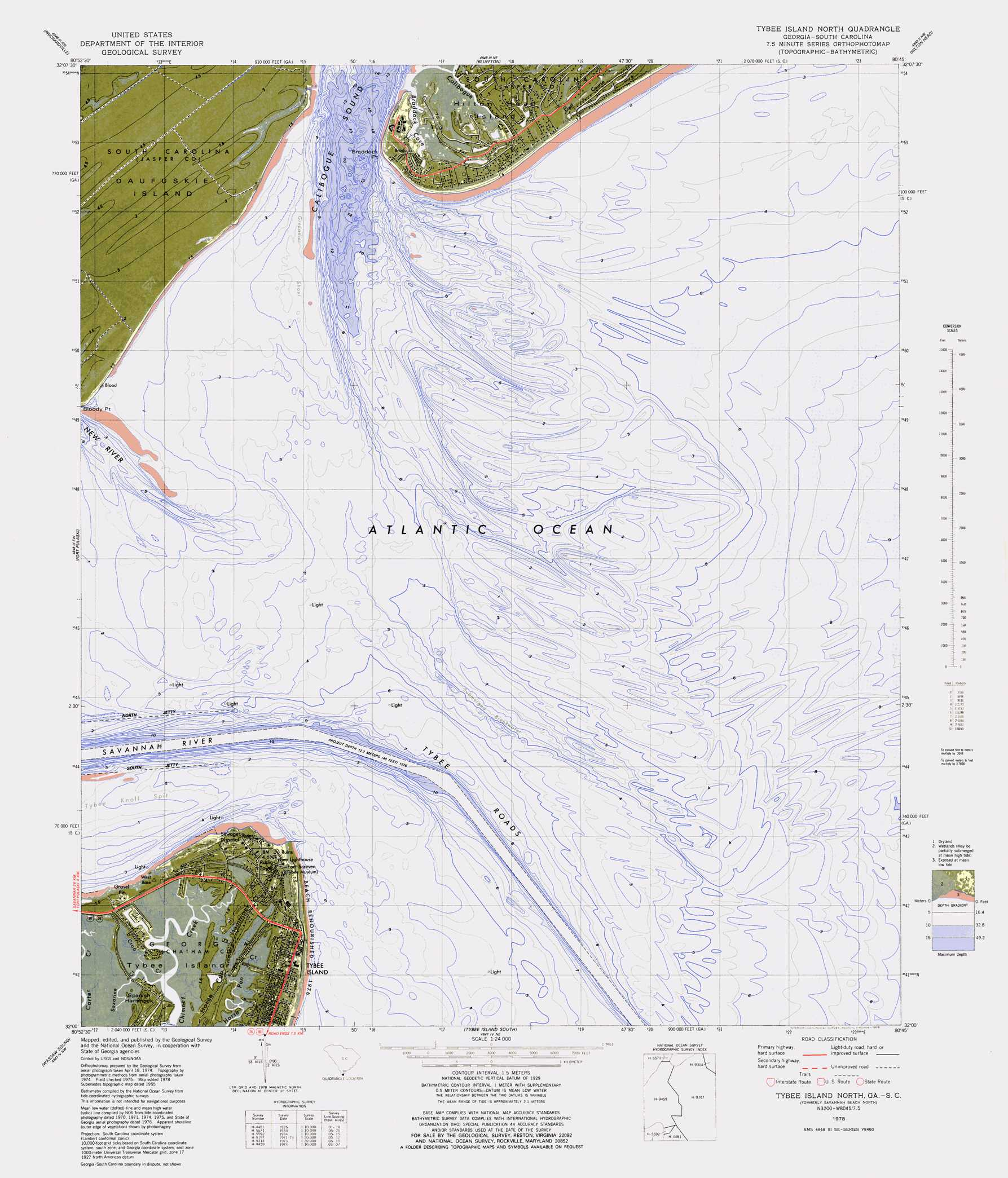 Tybee Island North topographic map, SC, GA - USGS Topo Quad 32080a7