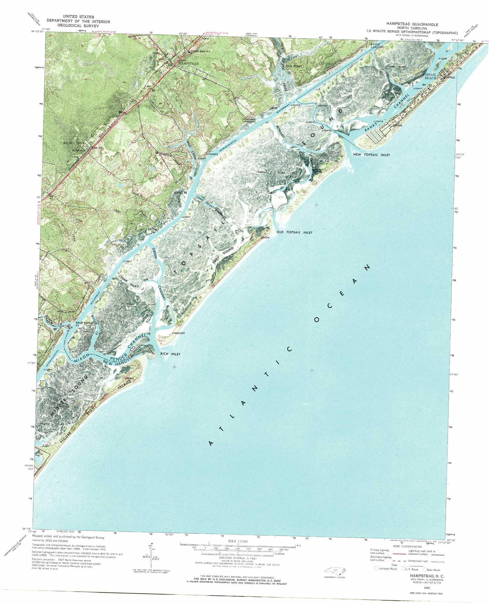 Hampstead Topographic Map Nc Usgs Topo Quad 34077c6