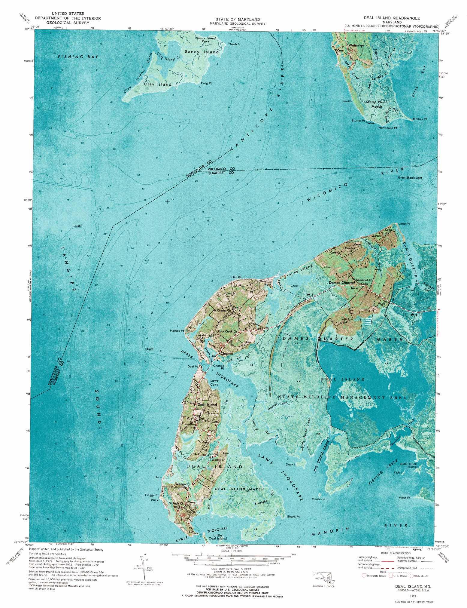 Deal Island topographic map, MD - USGS Topo Quad 38075b8