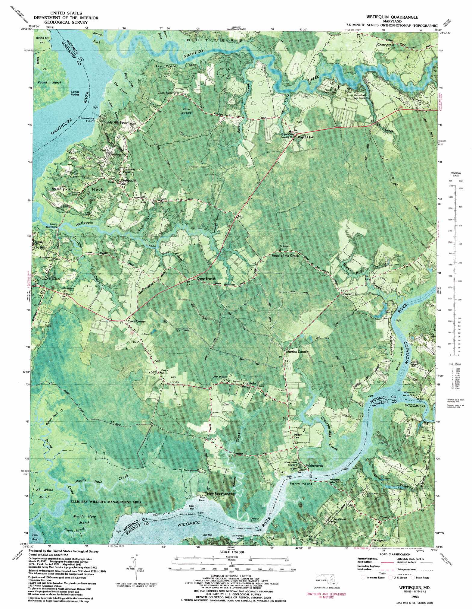 Wetipquin Topographic Map MD  USGS Topo Quad 38075c7