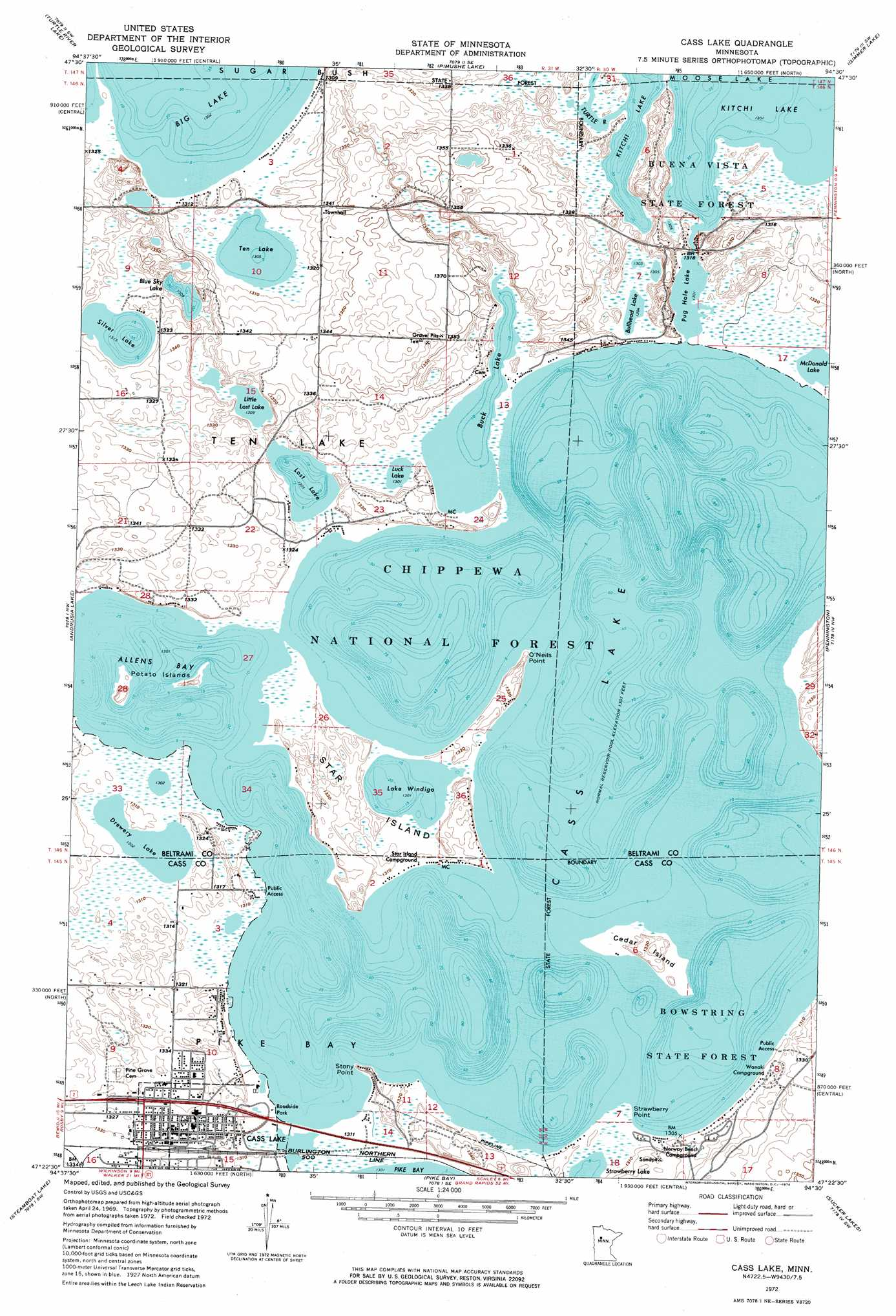 Cass lake topographic map mn usgs topo quad 47094d5 cass lake sciox Image collections