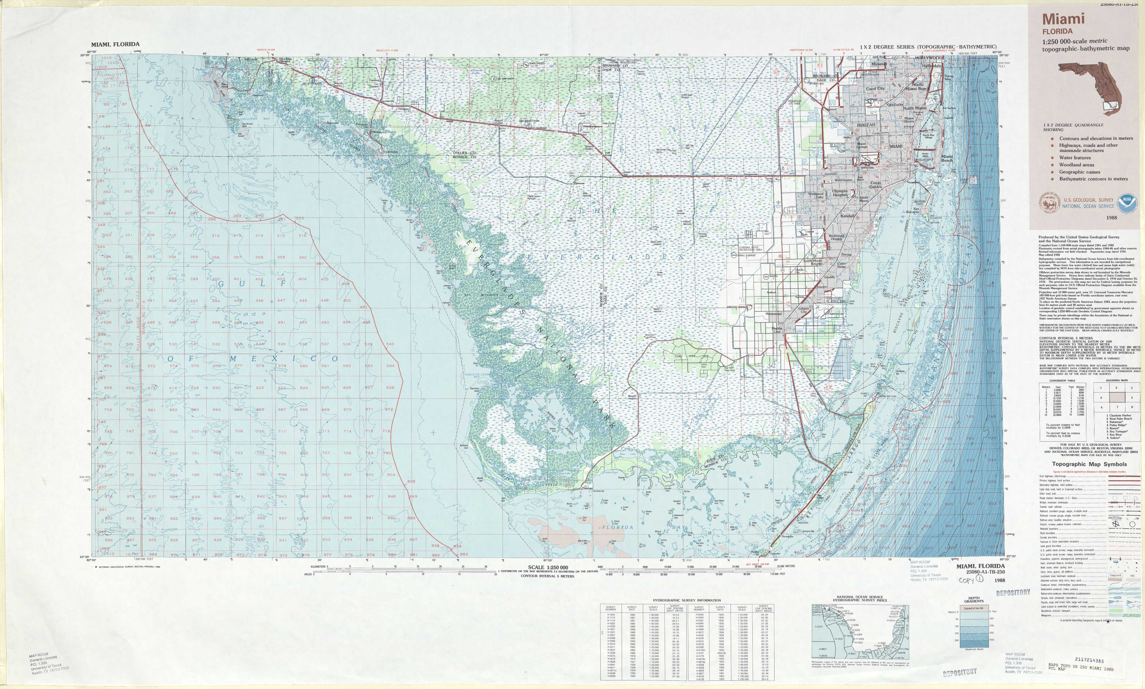 Miami Topographic Maps FL USGS Topo Quad A At Scale - Florida topographic map free