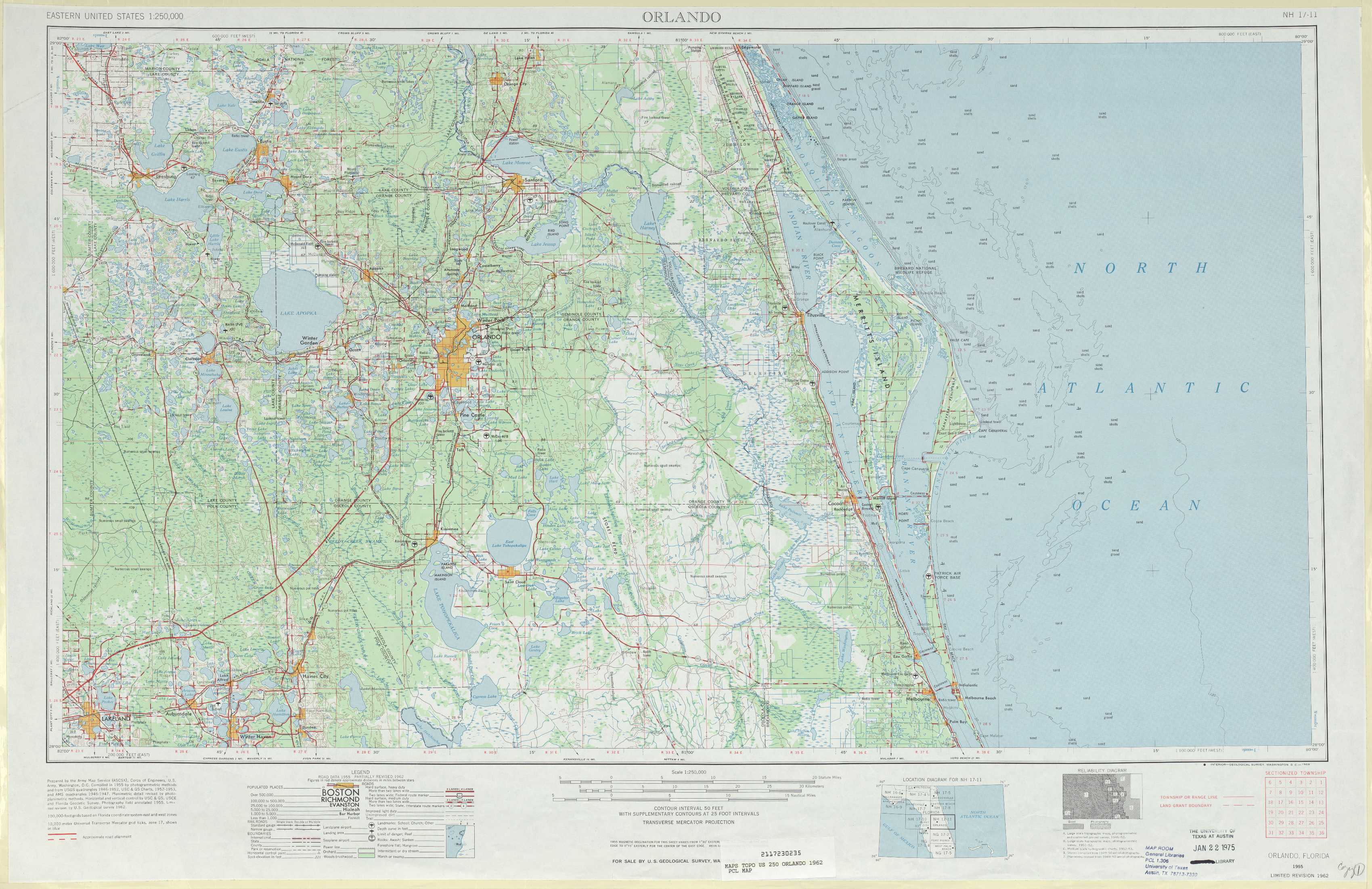 Orlando Topographic Maps FL USGS Topo Quad A At Scale - Florida topographic map free