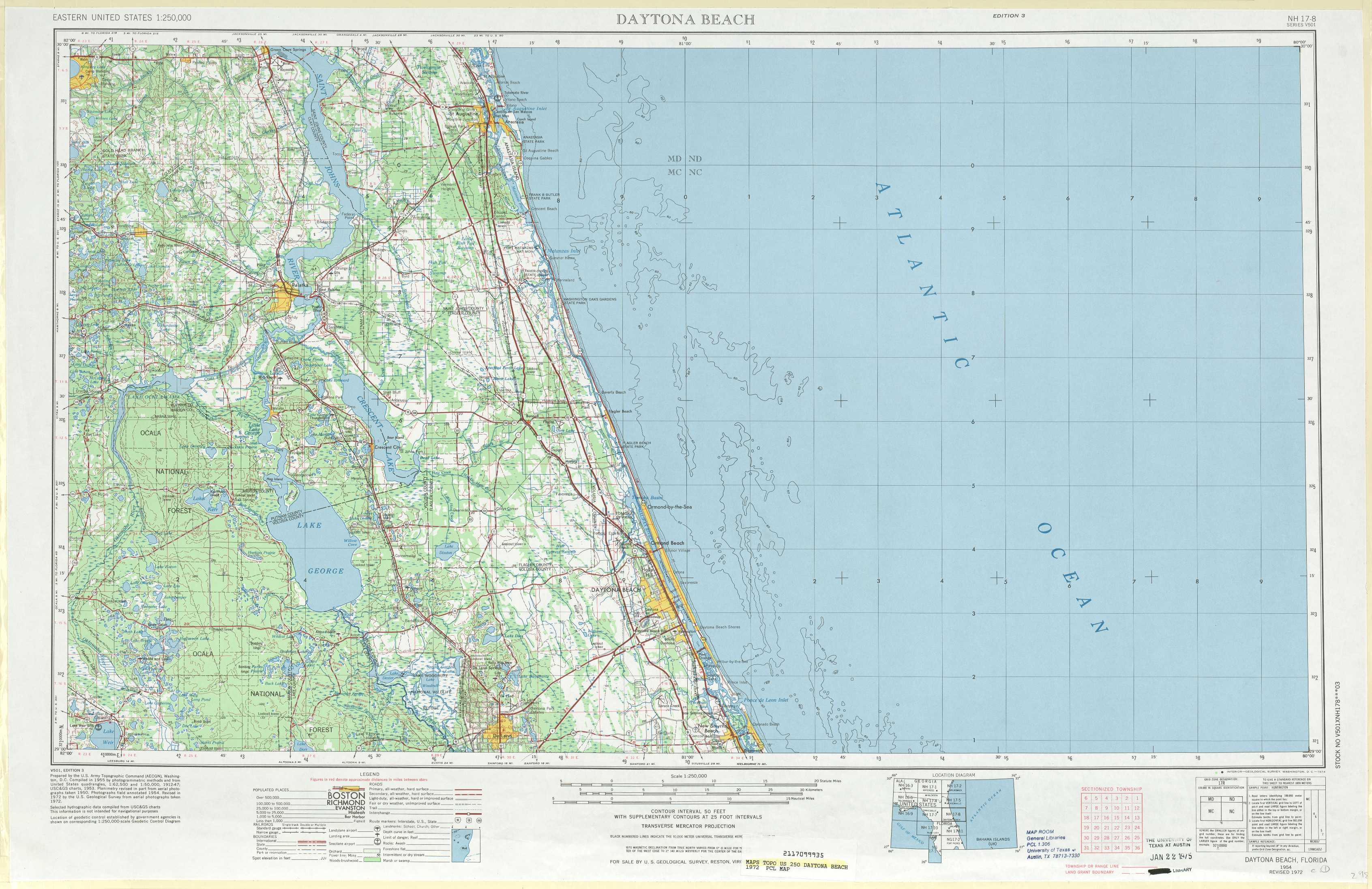 Map Of Florida Showing Daytona Beach.Daytona Beach Topographic Maps Fl Usgs Topo Quad 29080a1 At 1