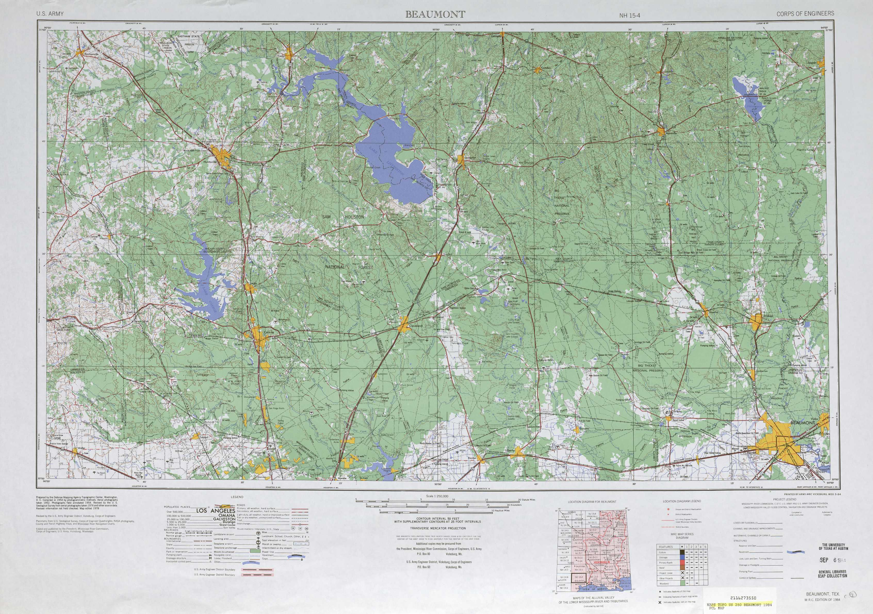Beaumont topographic maps, TX - USGS Topo Quad 30094a1 at 1:250,000 ...