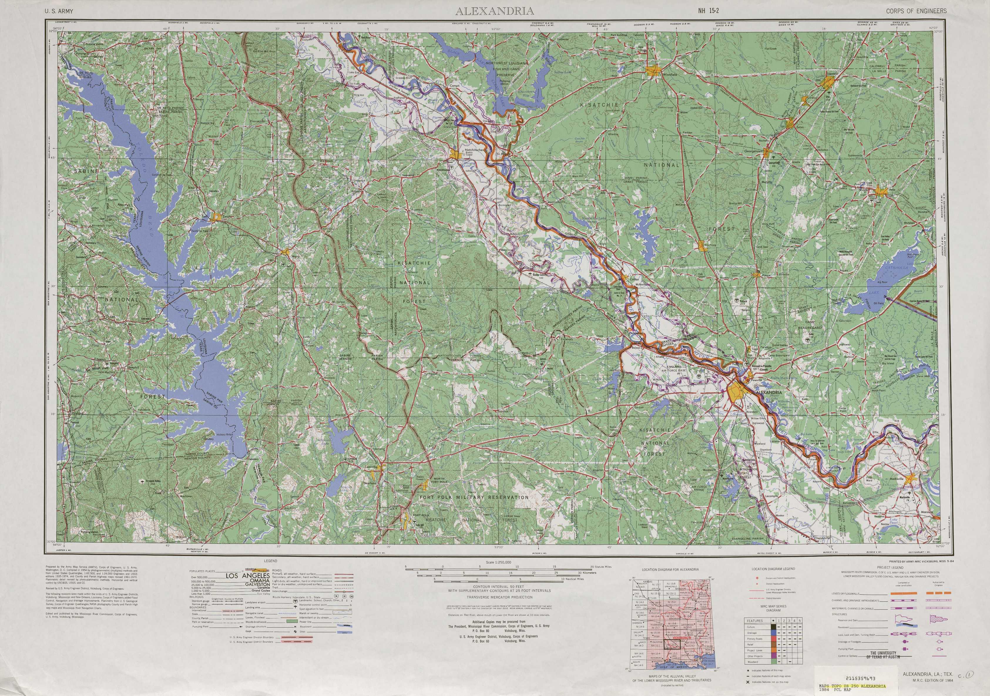 Alexandria Topographic Maps LA TX USGS Topo Quad A At - Louisiana map alexandria