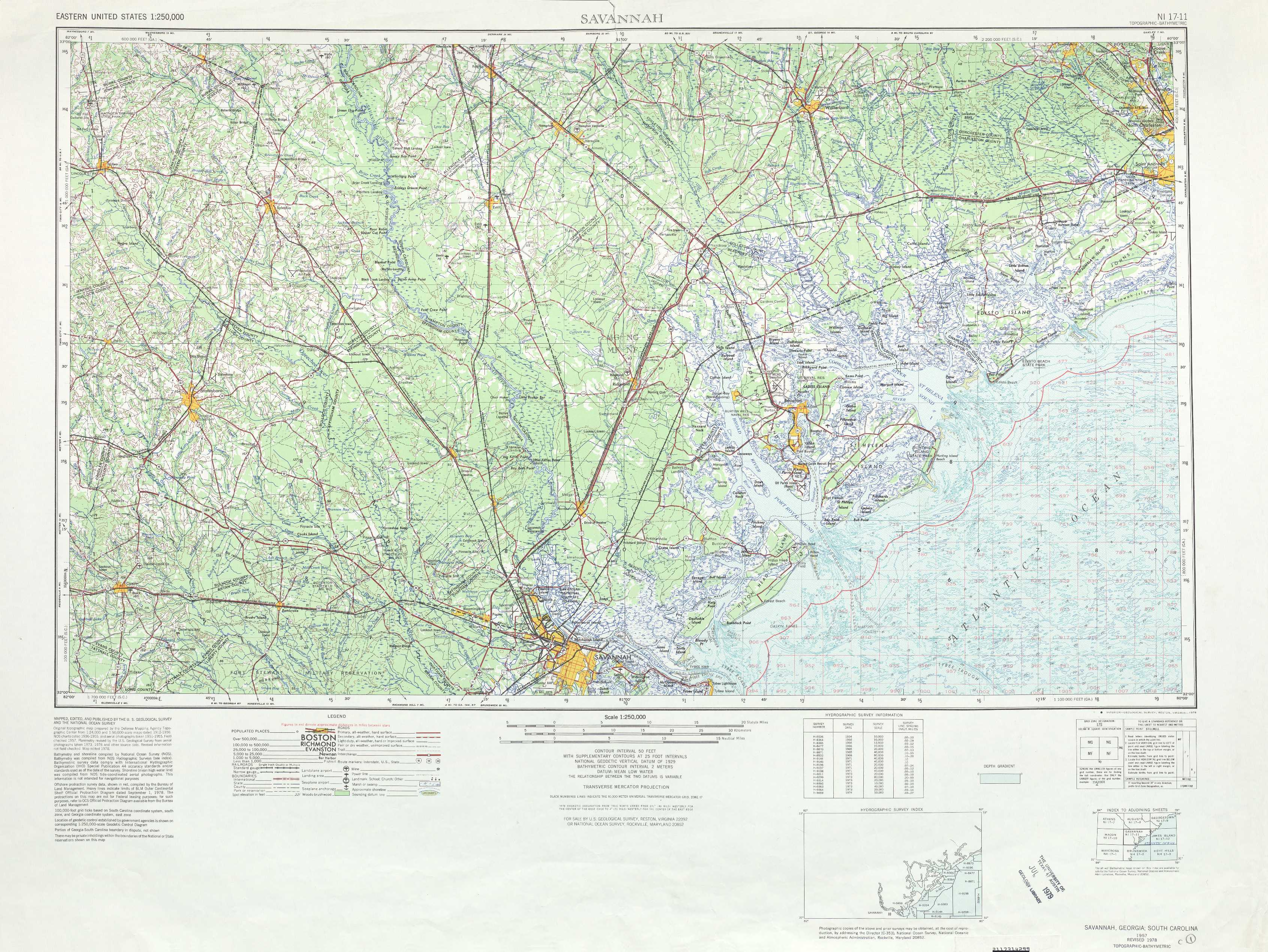 Savannah Topographic Maps SC GA USGS Topo Quad A At - Us map savannah georgia