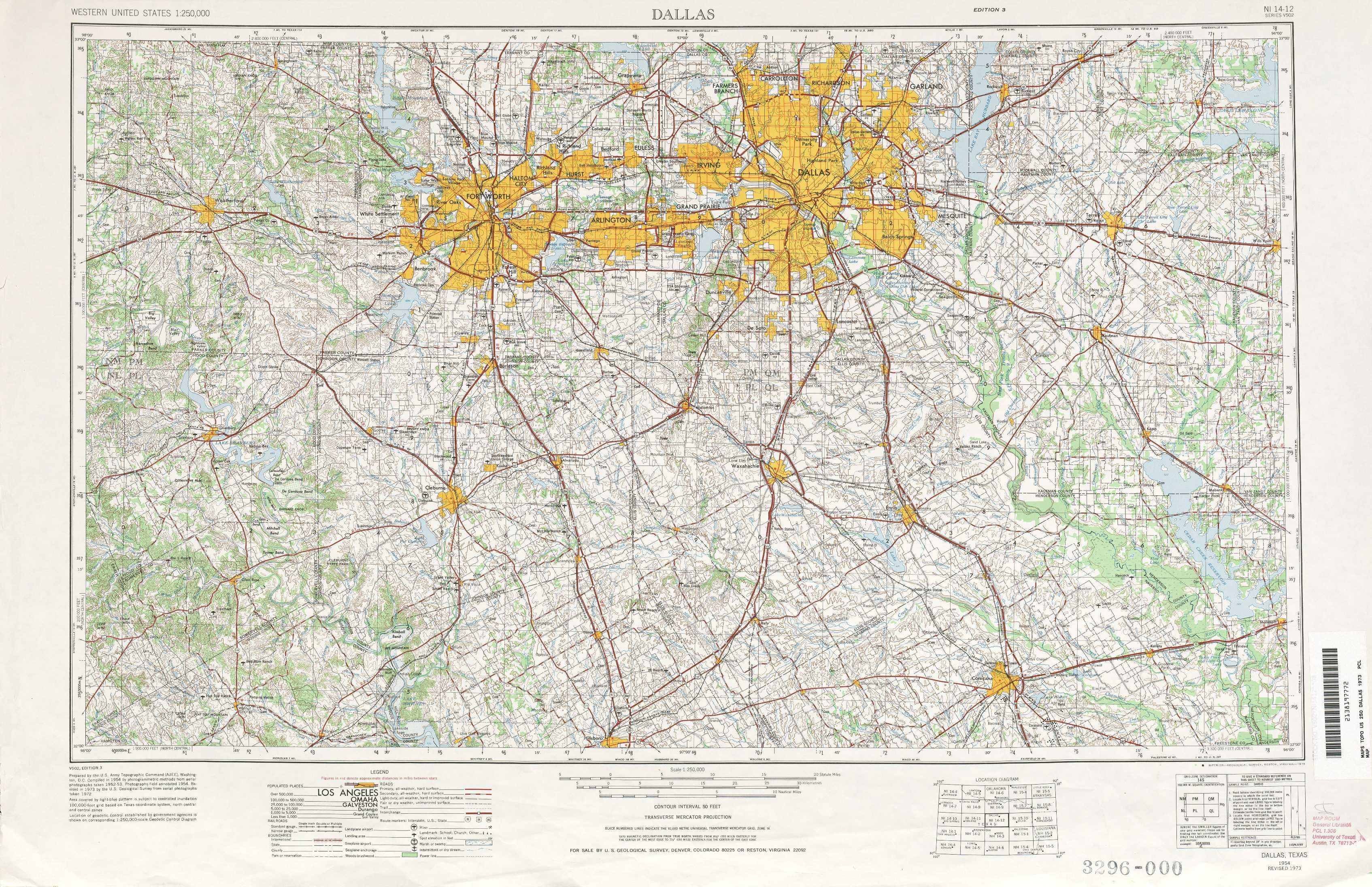 Dallas Topographic Maps Tx Usgs Topo Quad 32096a1 At 1 250 000 Scale