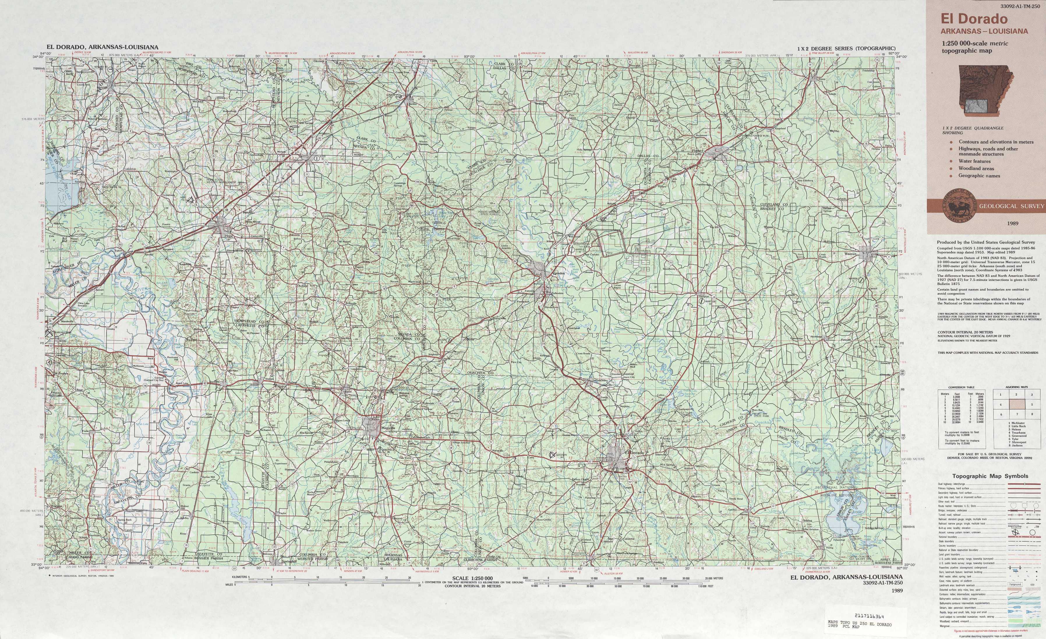 El Dorado topographic maps AR LA USGS Topo Quad 33092a1 at 1