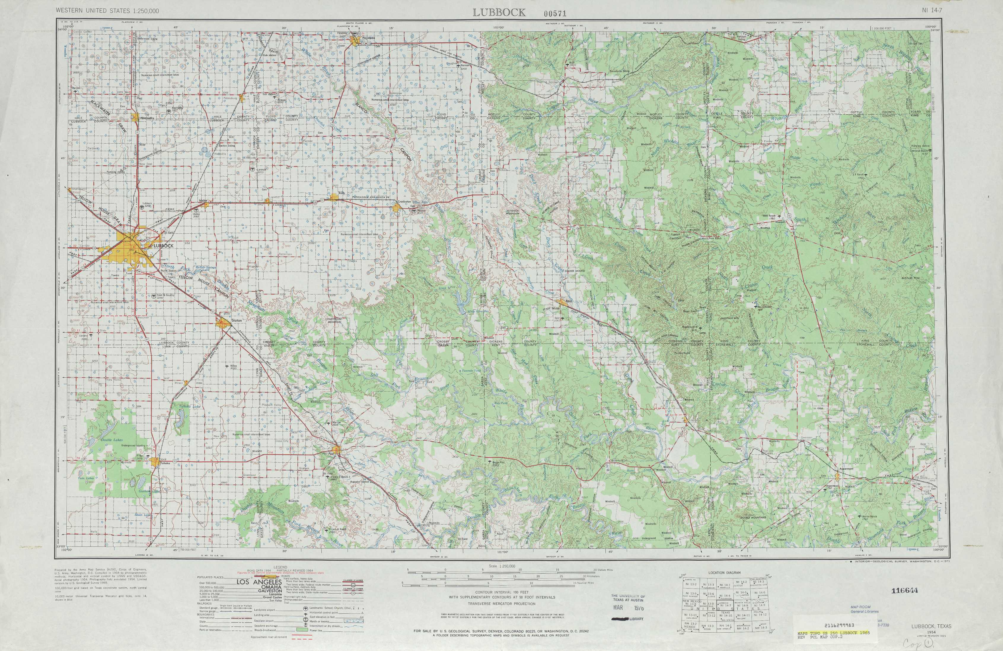 Lubbock topographic maps, TX - USGS Topo Quad 33100a1 at 1:250,000 scale