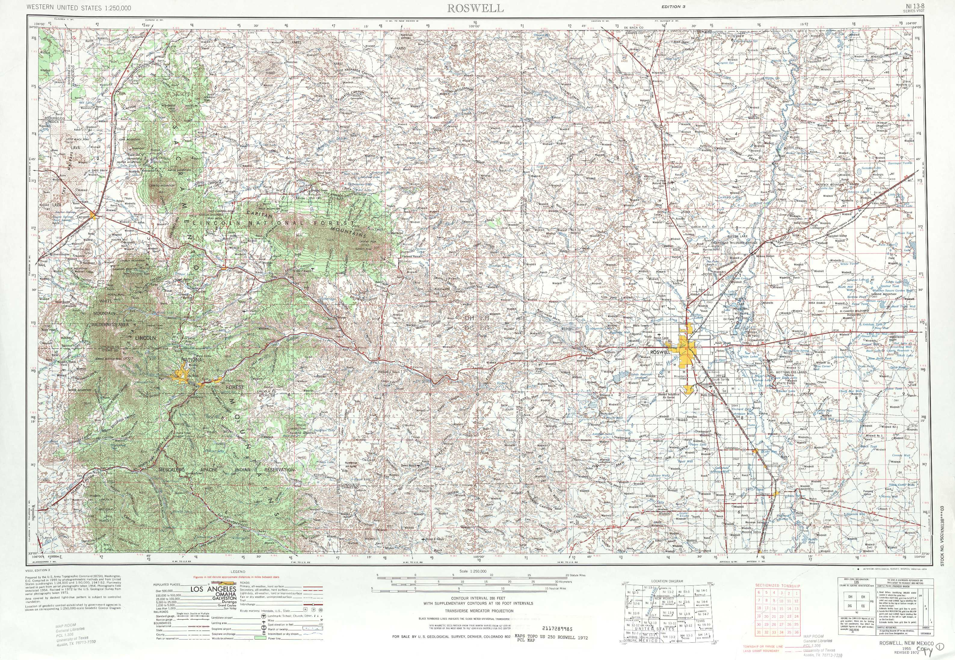 Roswell Topographic Maps NM USGS Topo Quad A At - New mexico elevation map