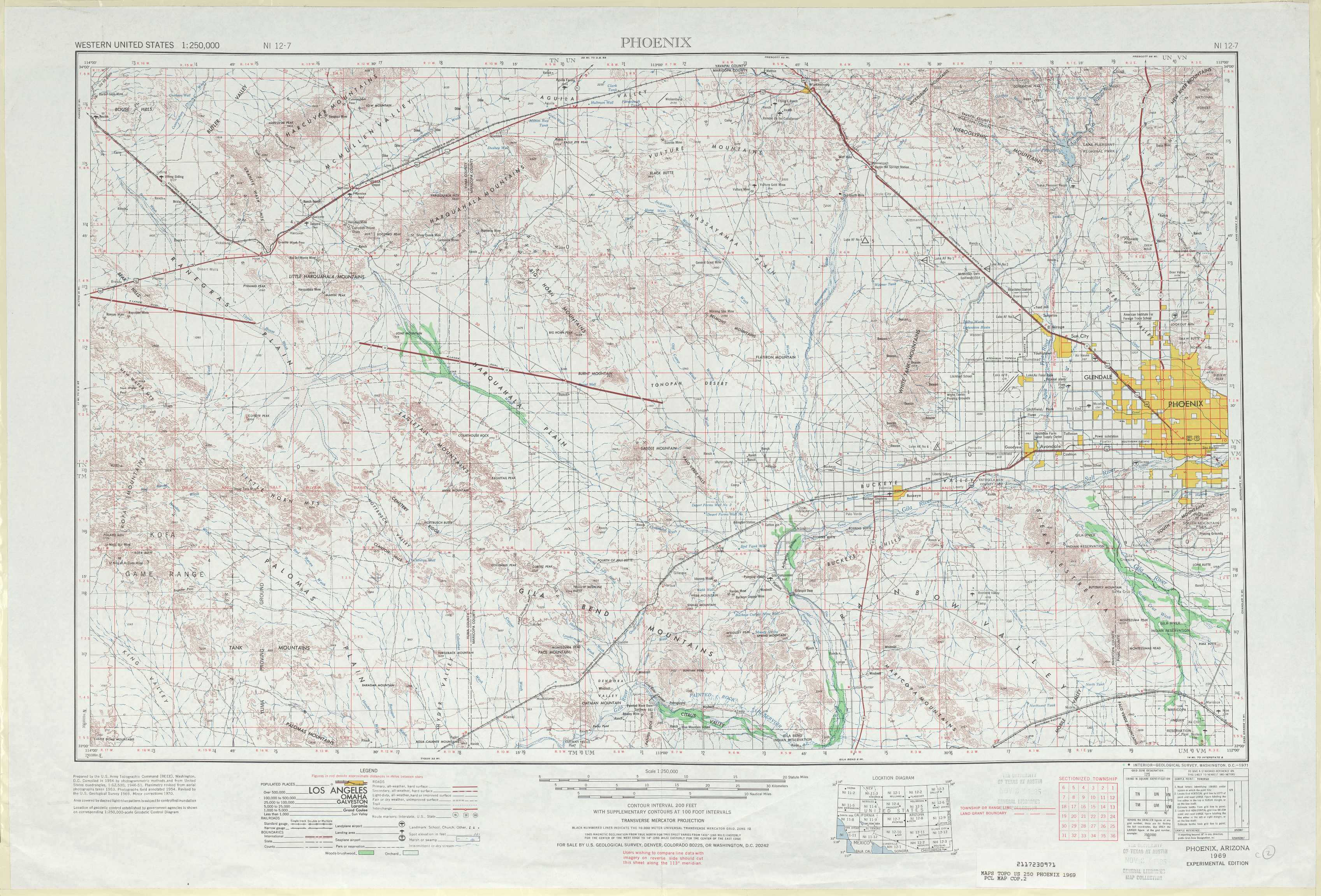 Phoenix topographic maps AZ USGS Topo Quad 33112a1 at 1250000