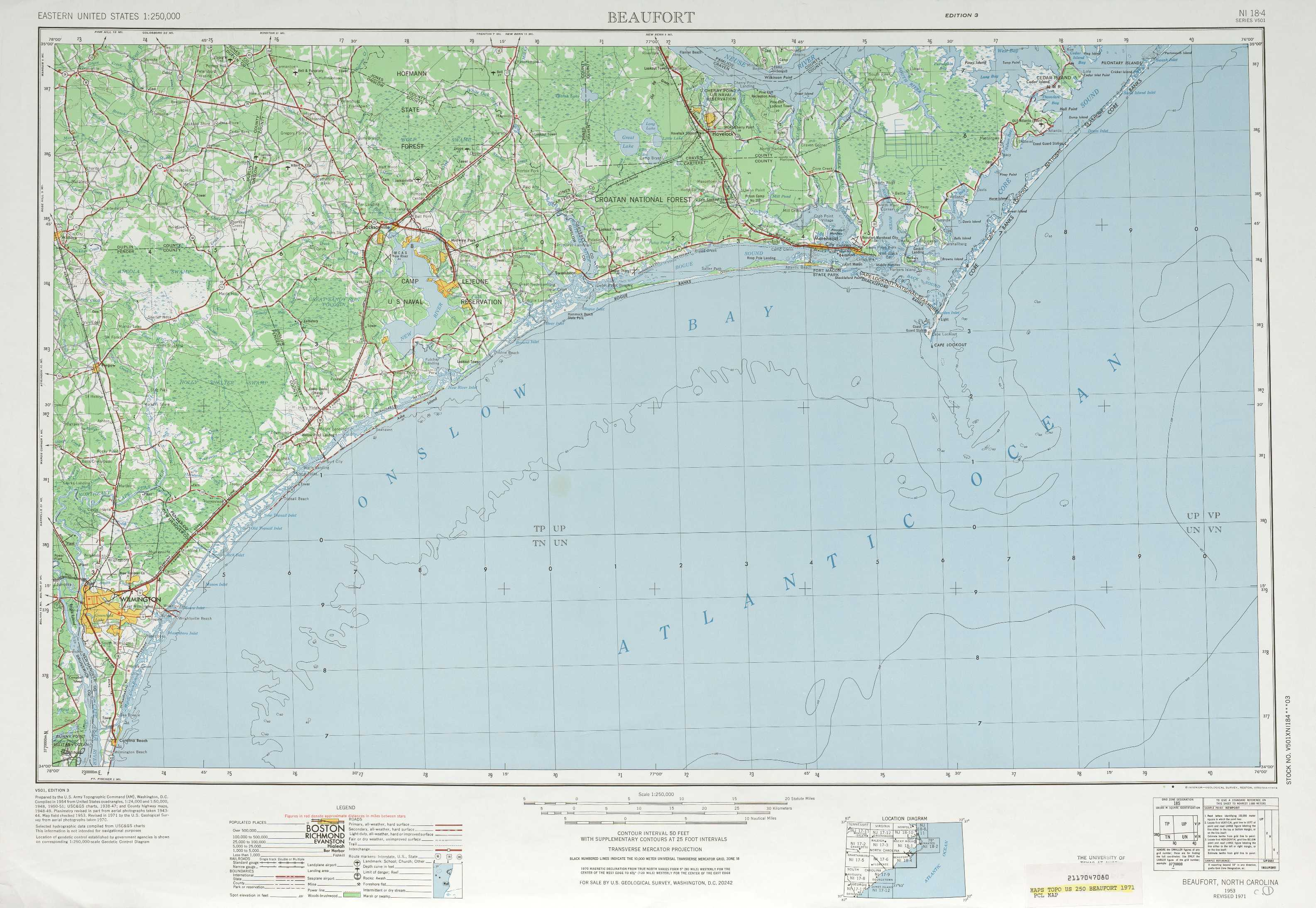 Beaufort Topographic Maps Nc Usgs Topo Quad 34076a1 At