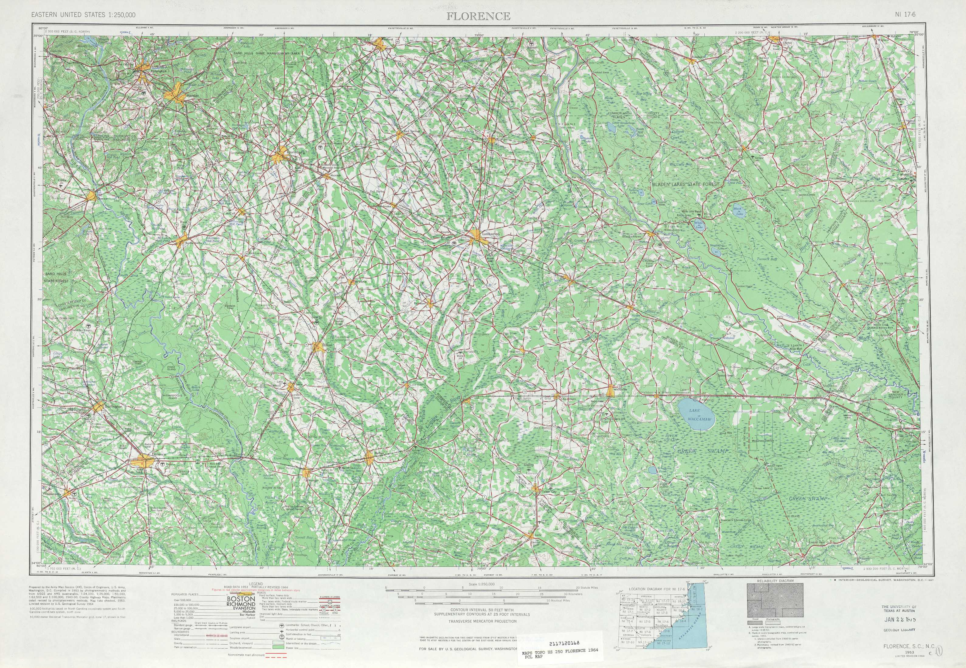 Florence topographic maps, NC, SC - USGS Topo Quad 34078a1 at 1 ...