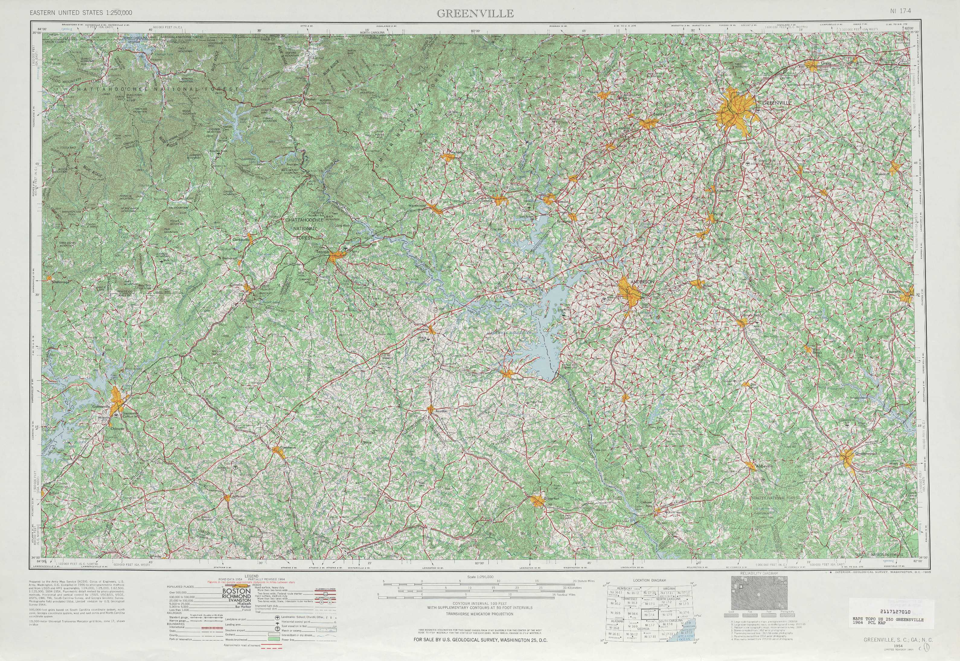 Greenville topographic maps, GA, SC - USGS Topo Quad 34082a1 at 1 ...