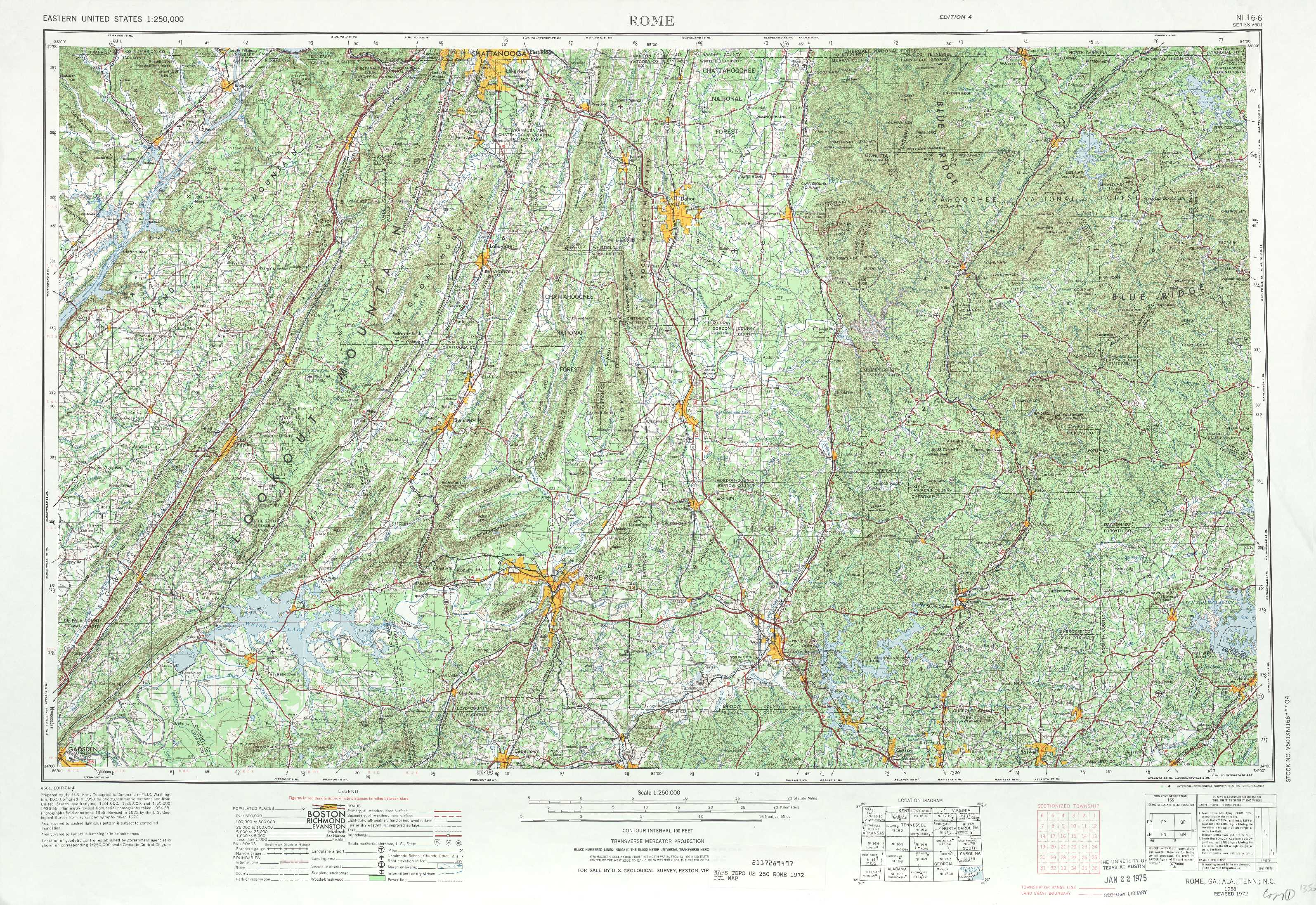 Rome Topographic Maps GA AL USGS Topo Quad A At - Georgia map rome