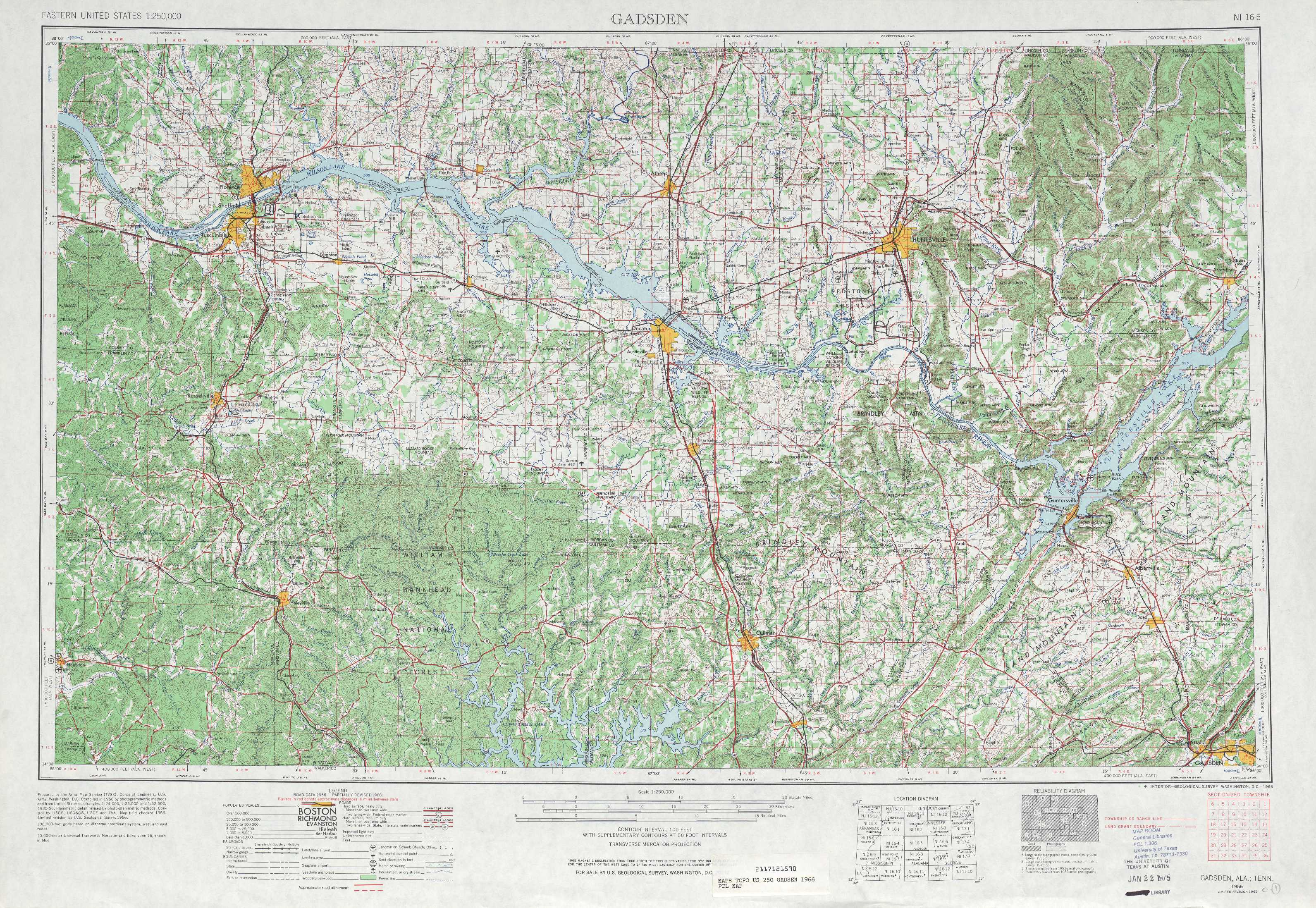 Gadsden topographic maps AL USGS Topo Quad 34086a1 at 1250000 scale