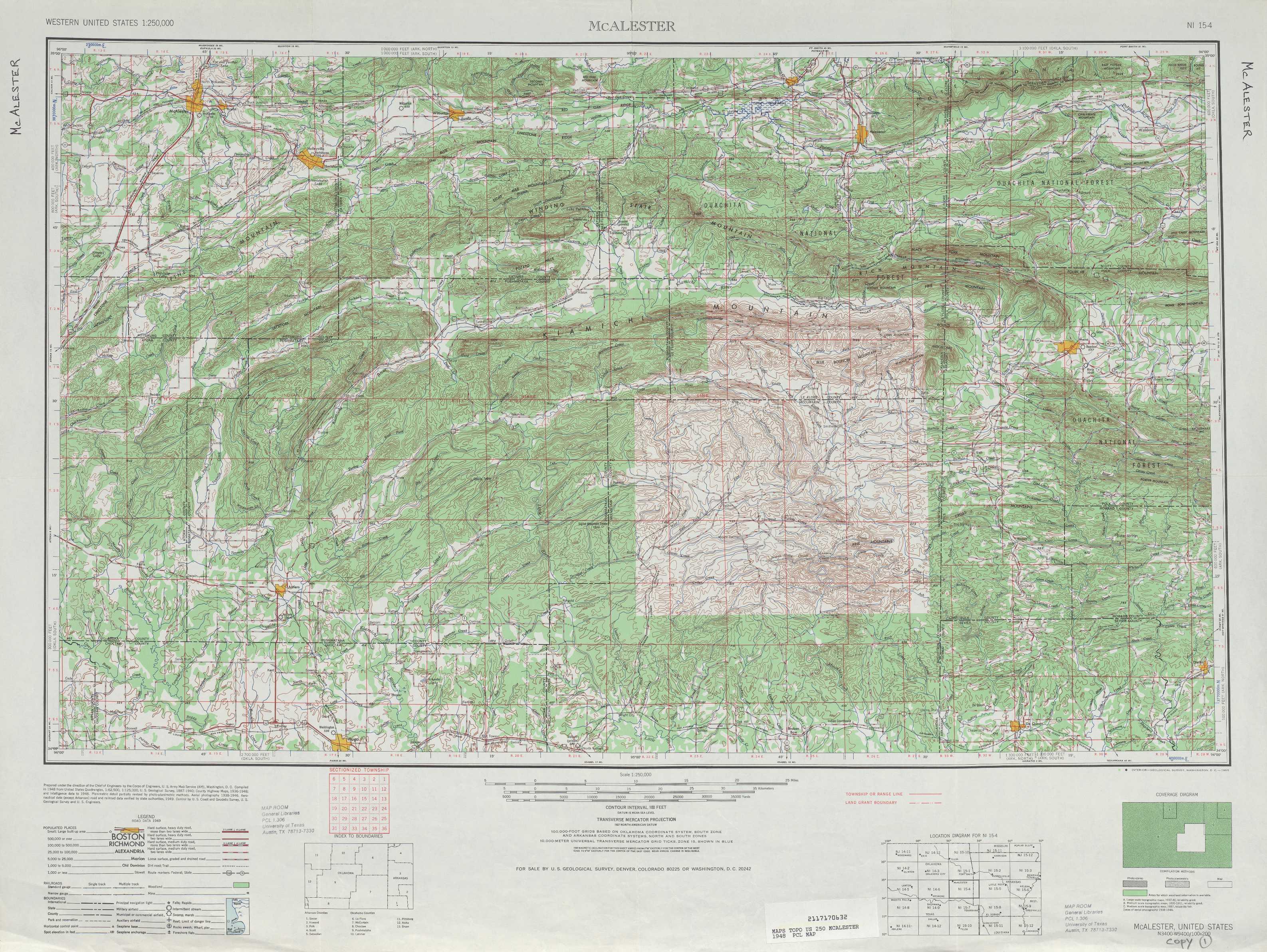 Mc Alester Topographic Maps OK AR  USGS Topo Quad
