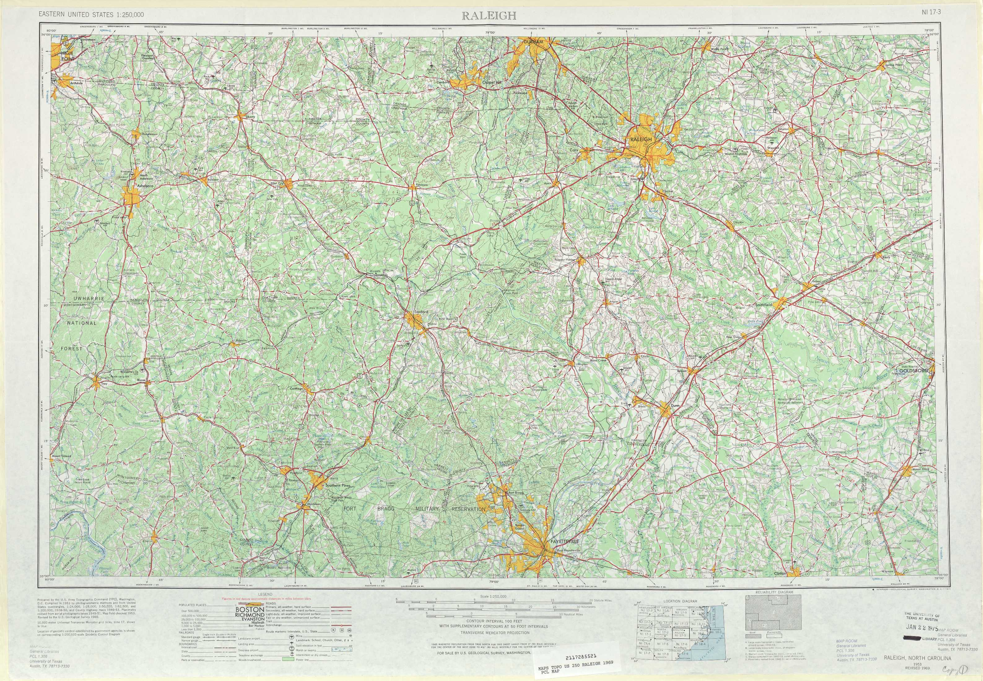 Raleigh topographic maps, NC   USGS Topo Quad 35078a1 at 1:250,000