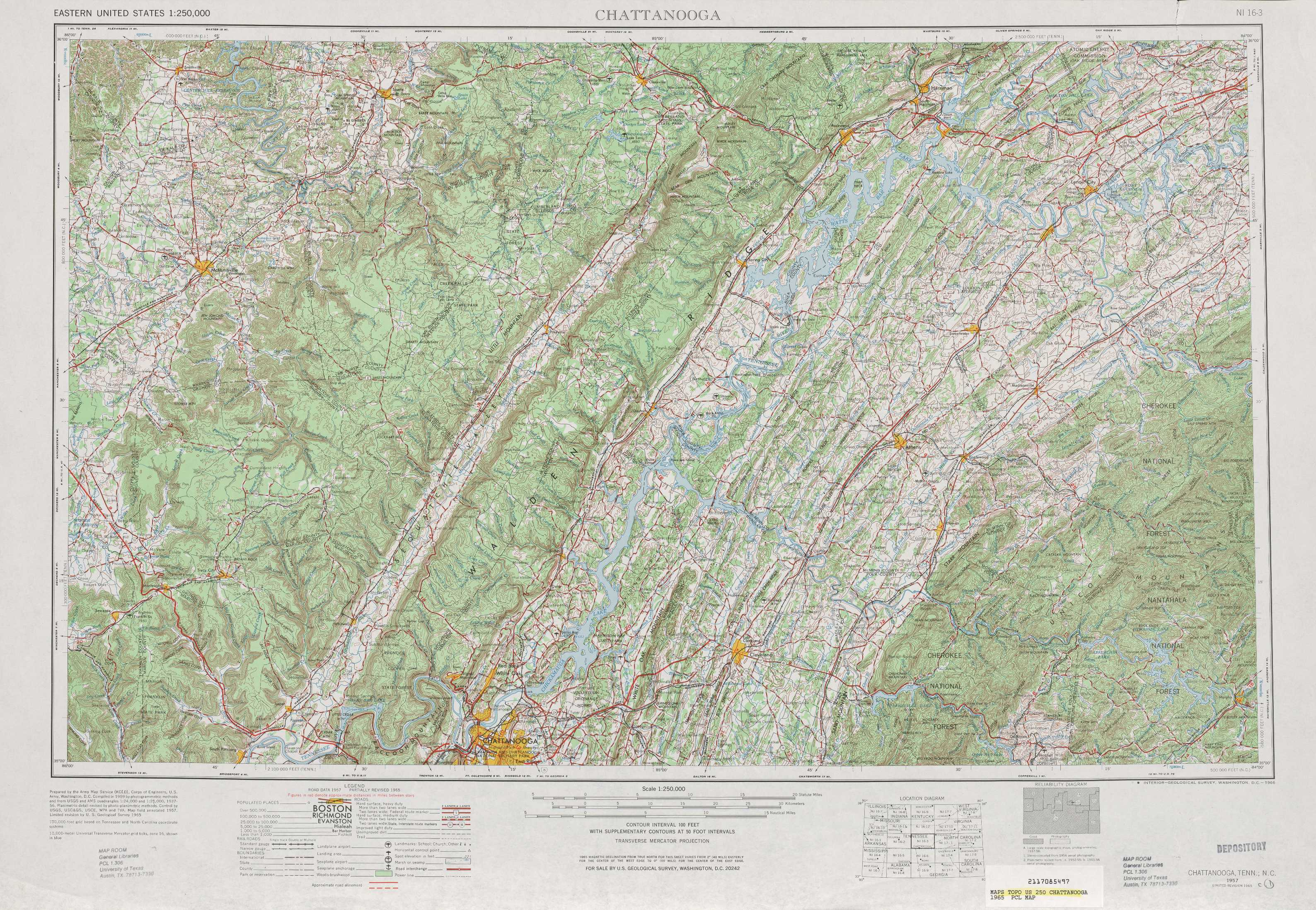Chattanooga topographic maps TN NC USGS Topo Quad 35084a1 at 1