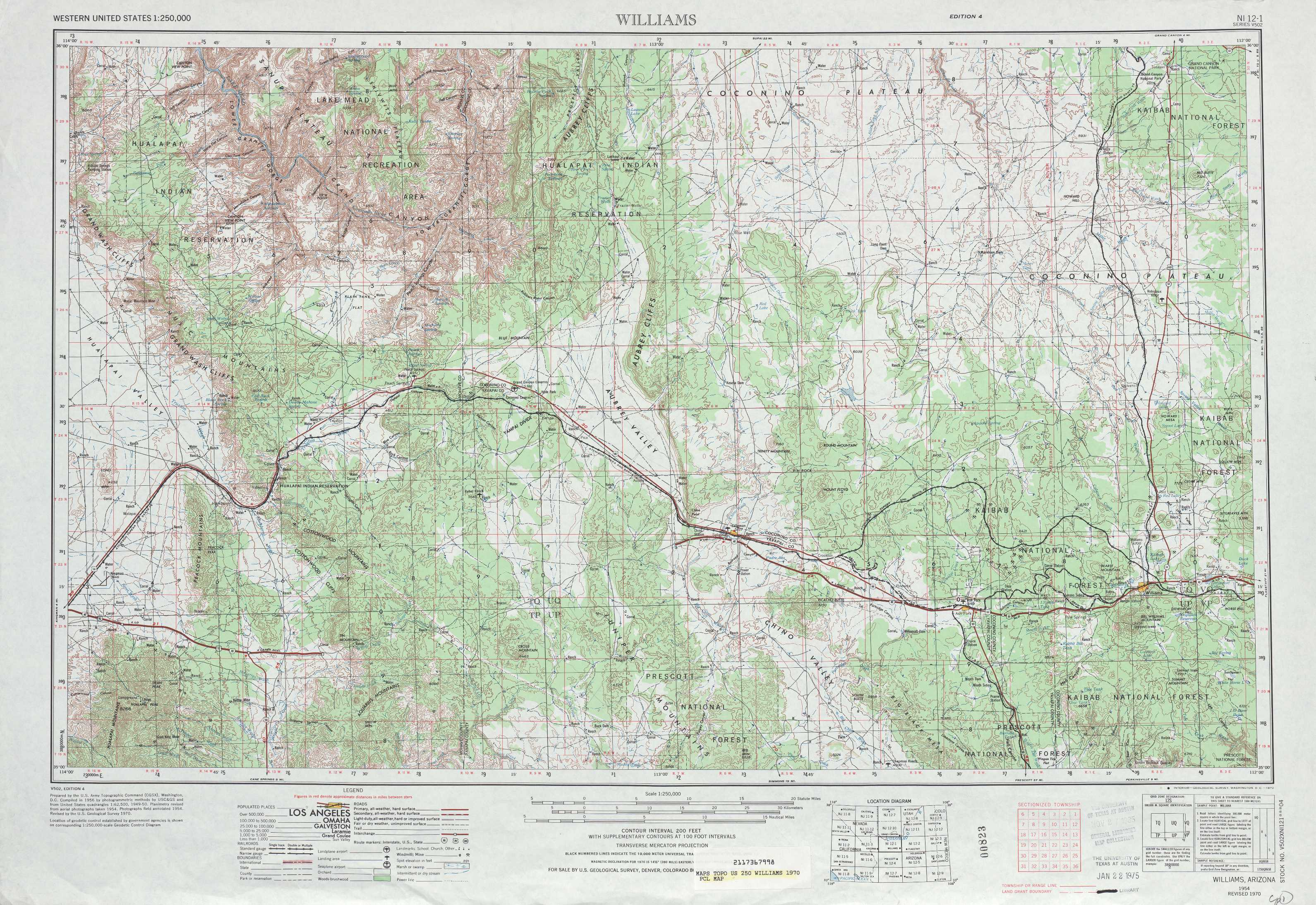 williams. williams topographic maps az  usgs topo quad a at