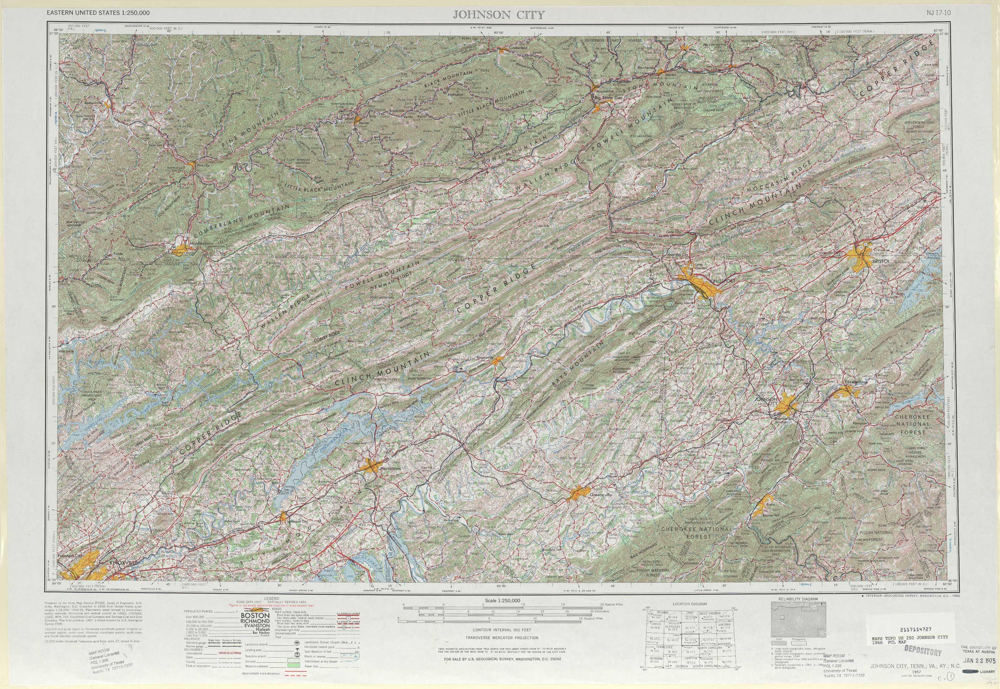 Johnson City Topographic Maps Tn Va Ky Nc Usgs Topo
