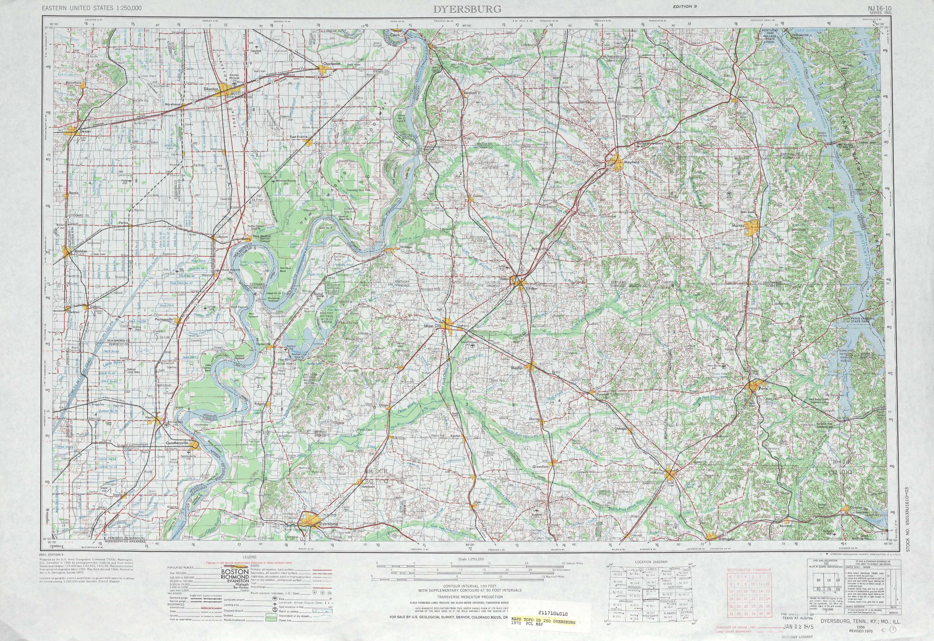 Dyersburg Topographic Maps Tn Mo Ky Usgs Topo Quad 36088a1 At 1 250 000 Scale