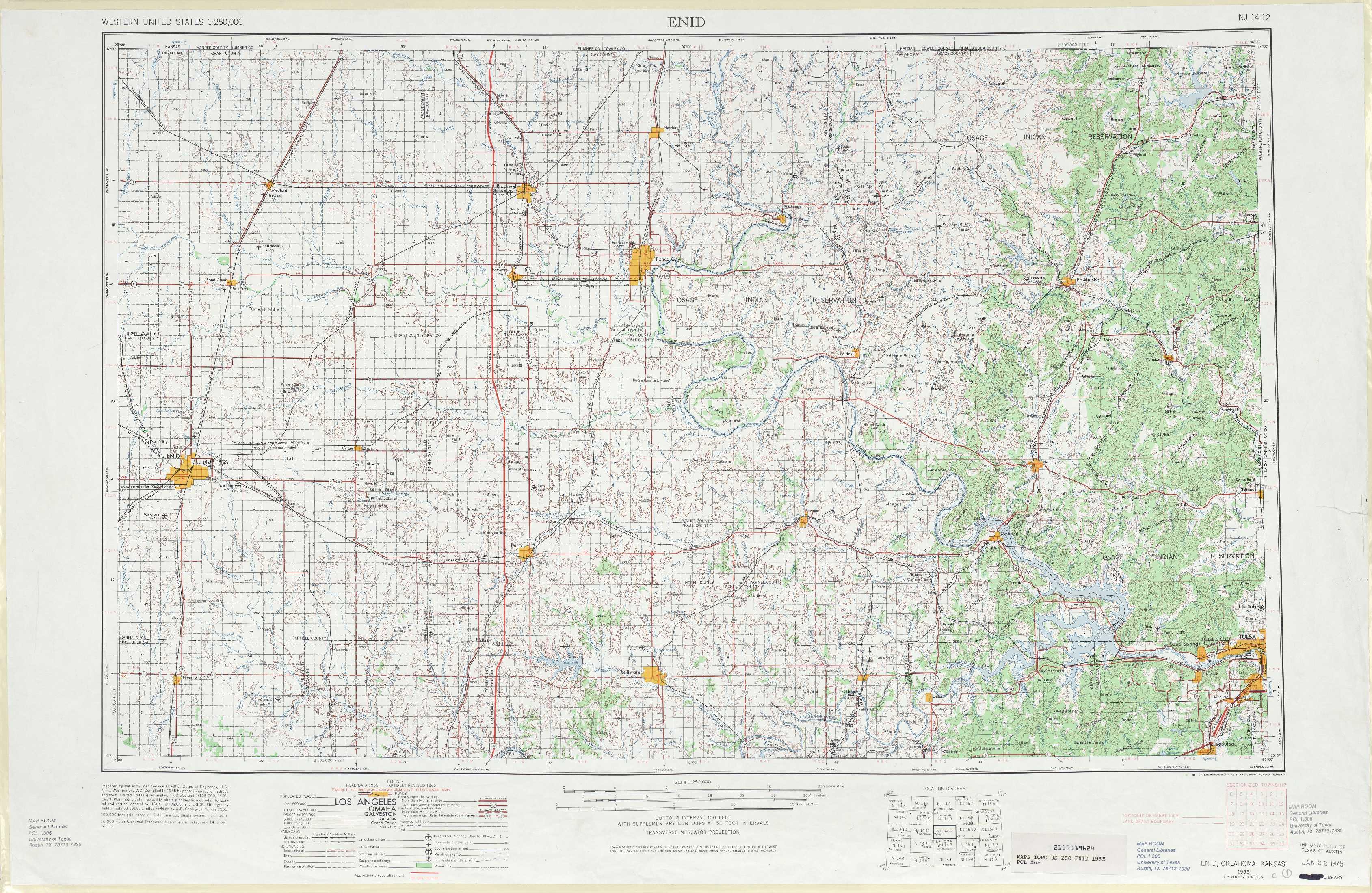 Enid topographic maps OK USGS Topo Quad 36096a1 at 1250000 scale