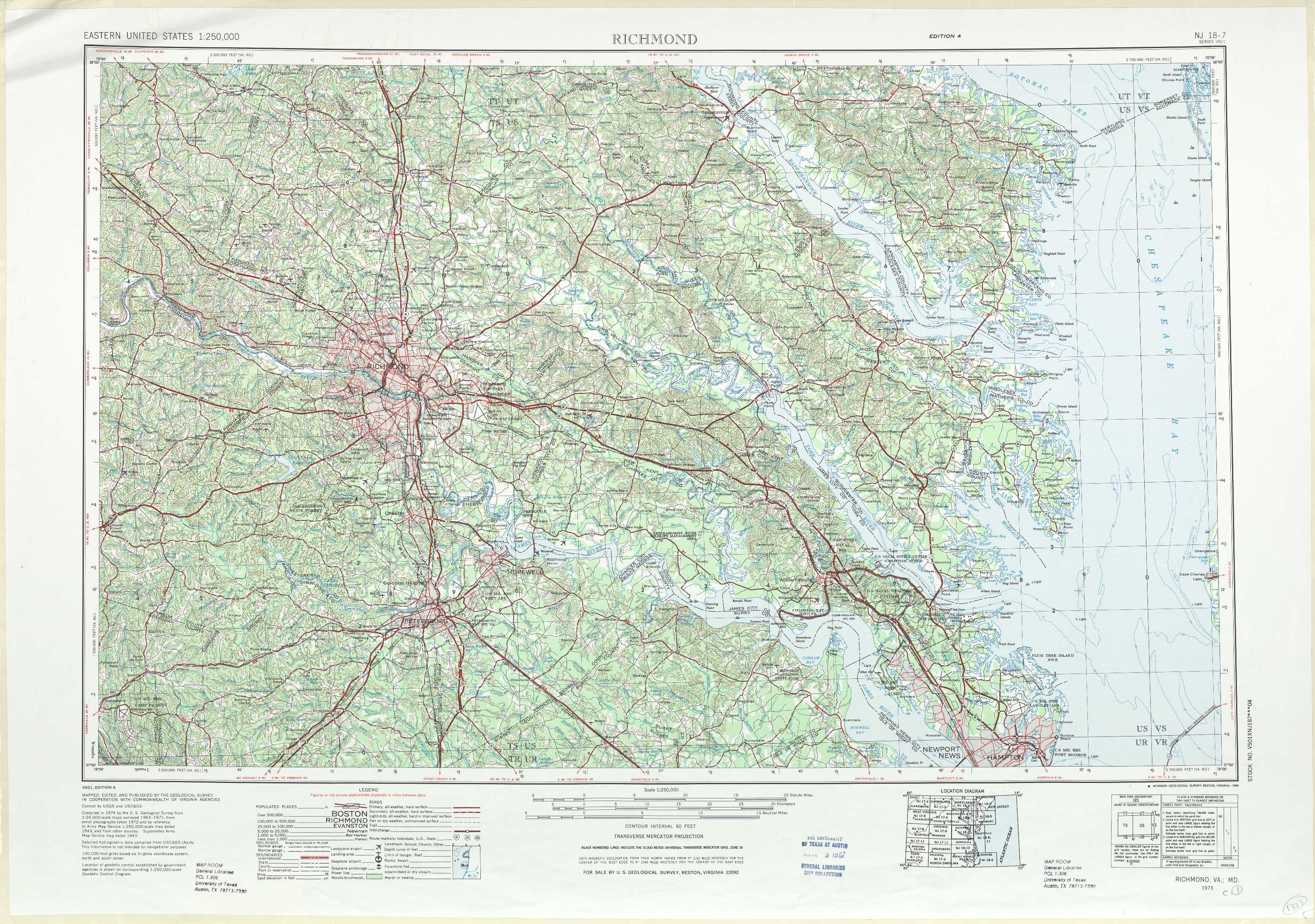 Richmond topographic maps, VA, MD - USGS Topo Quad 37076a1 ...