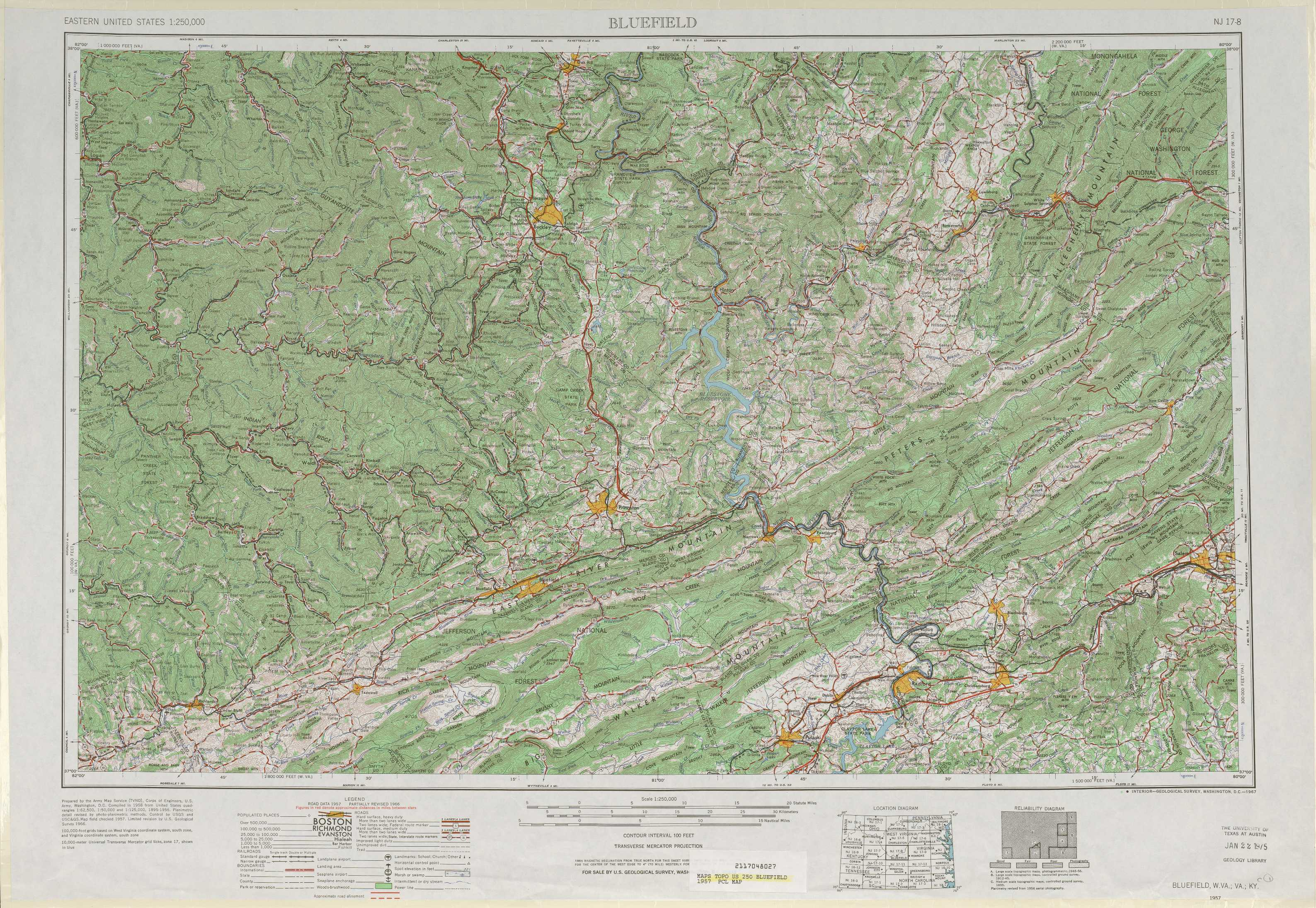 Bluefield topographic maps WV VA KY USGS Topo Quad 37080a1 at 1