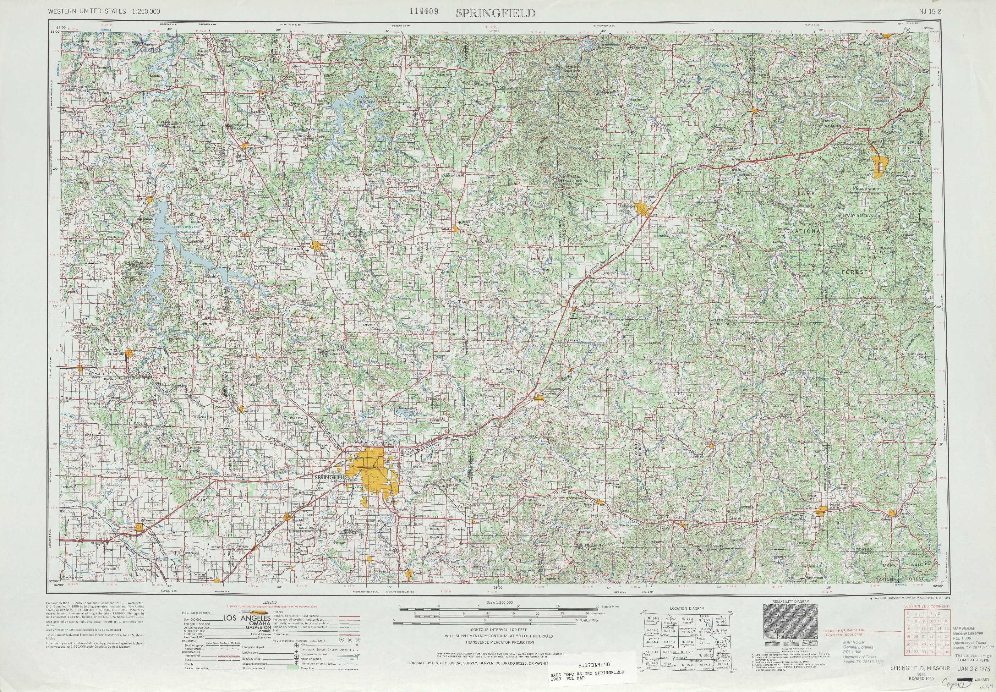 Springfield Topographic Maps MO USGS Topo Quad A At - Springfield mo map