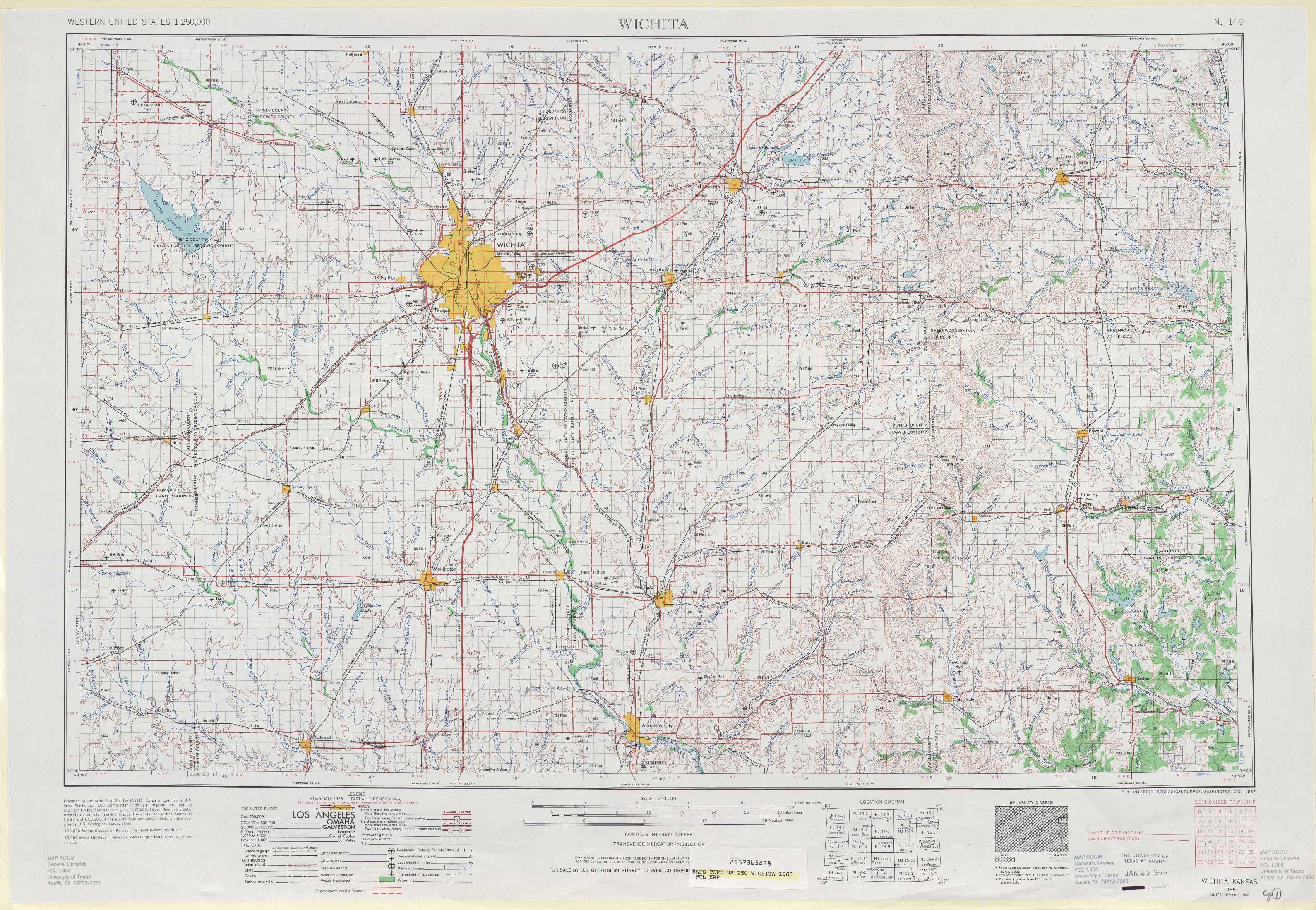 Wichita topographic maps KS USGS Topo Quad 37096a1 at 1250000 scale
