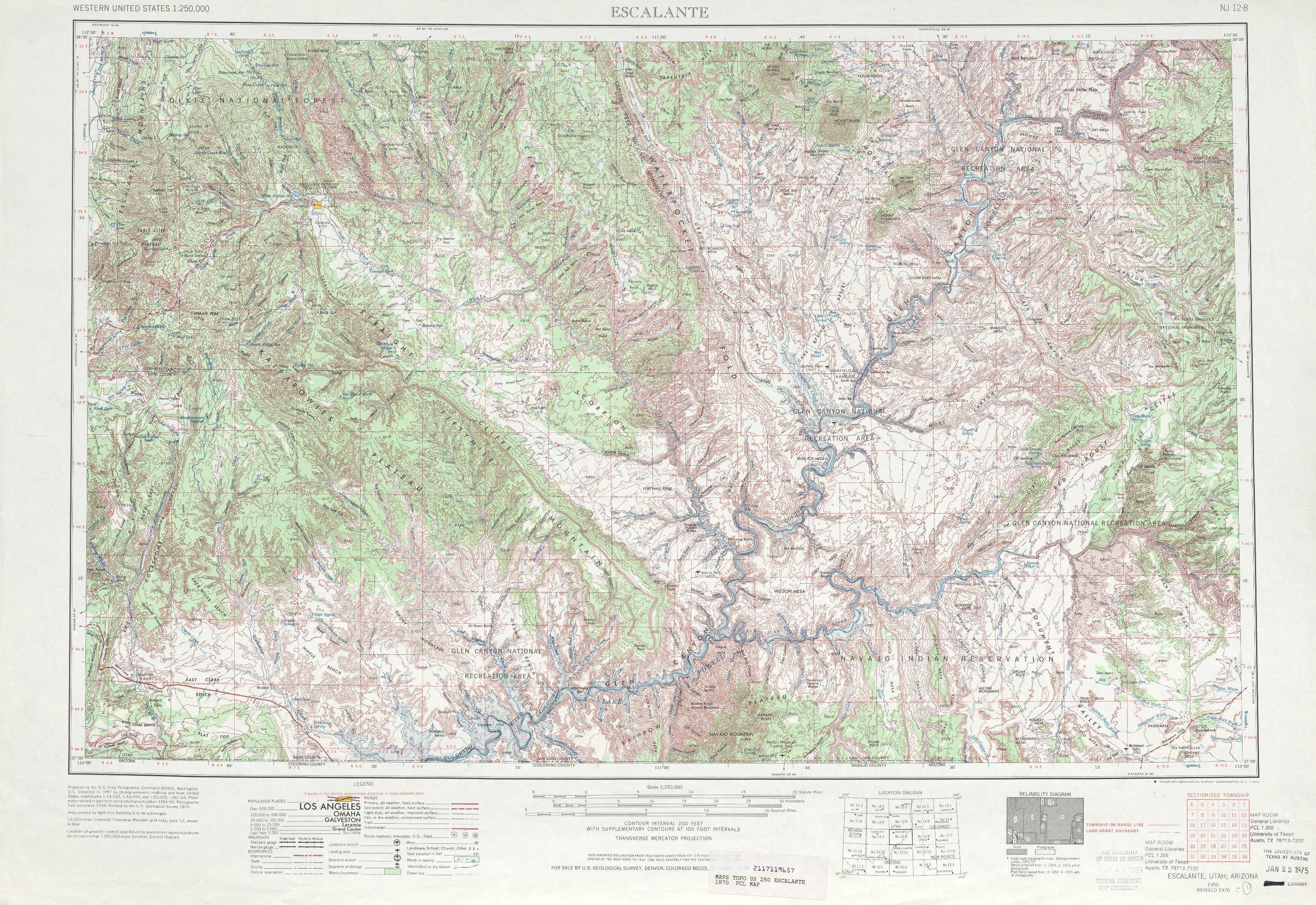 Escalante Topographic Maps UT USGS Topo Quad A At - Topographic map of utah